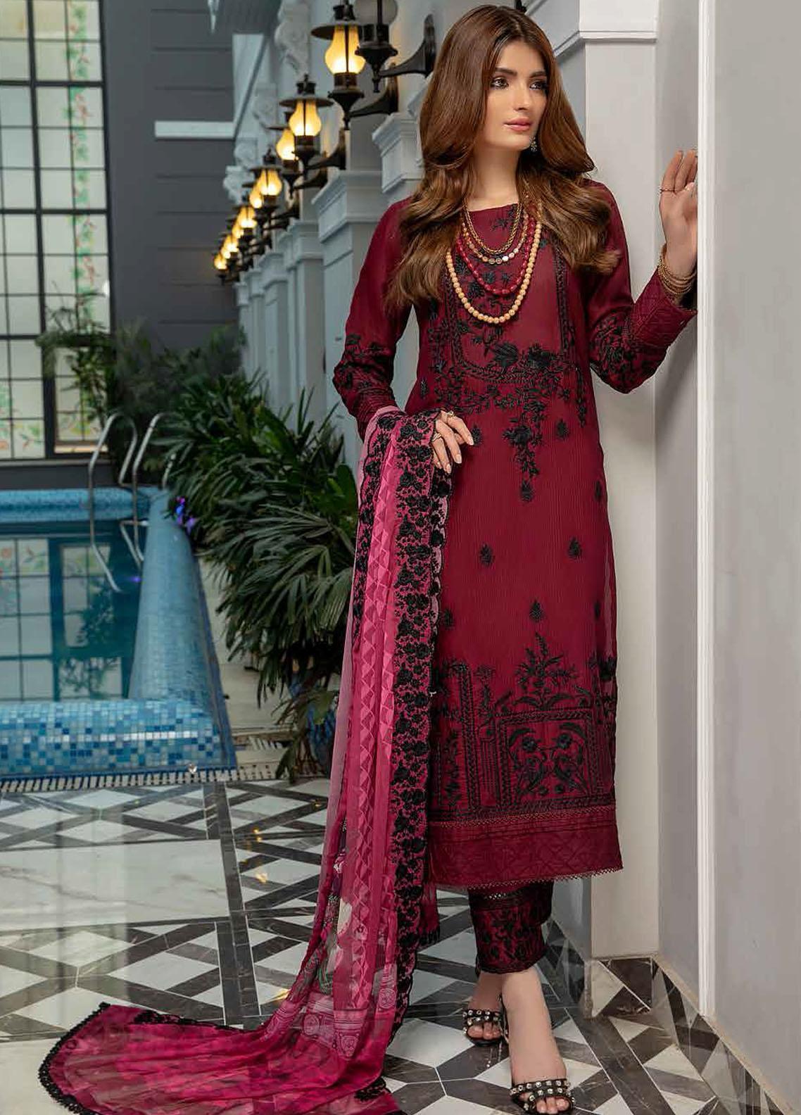 Azure Embroidered Cotton Jacquard Suits Unstitched 3 Piece AZU21CJ 06 Crimson - Winter Collection