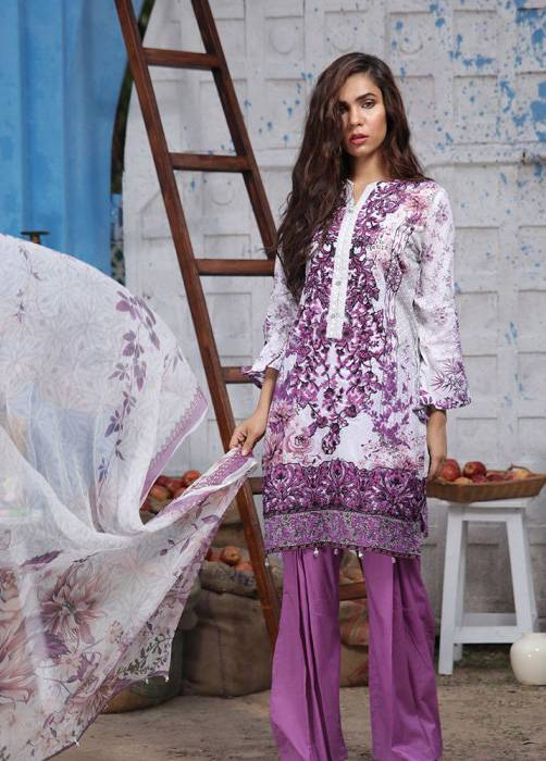 Bashir Ahmed Embroidered Lawn Unstitched 3 Piece Suit BA17E 1A