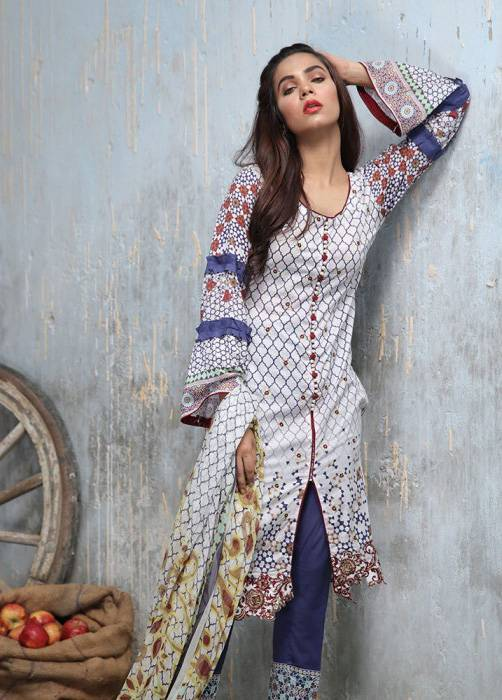 Bashir Ahmed Embroidered Lawn Unstitched 3 Piece Suit BA17E 2A