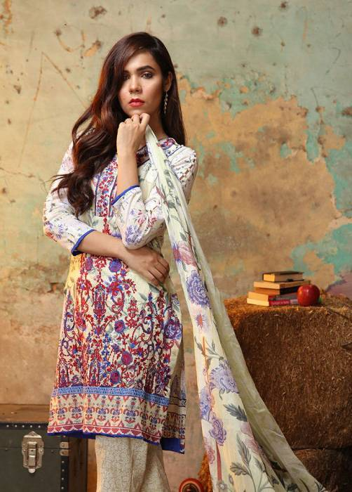 Bashir Ahmed Embroidered Lawn Unstitched 3 Piece Suit BA17E 3A