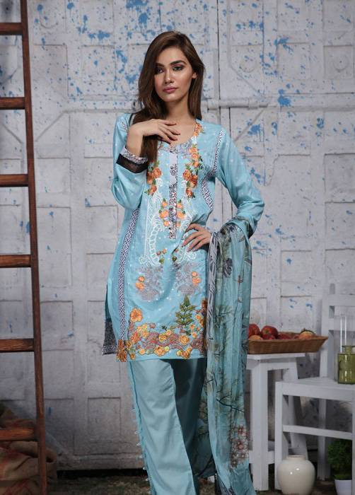 Bashir Ahmed Embroidered Lawn Unstitched 3 Piece Suit BA17E 4B