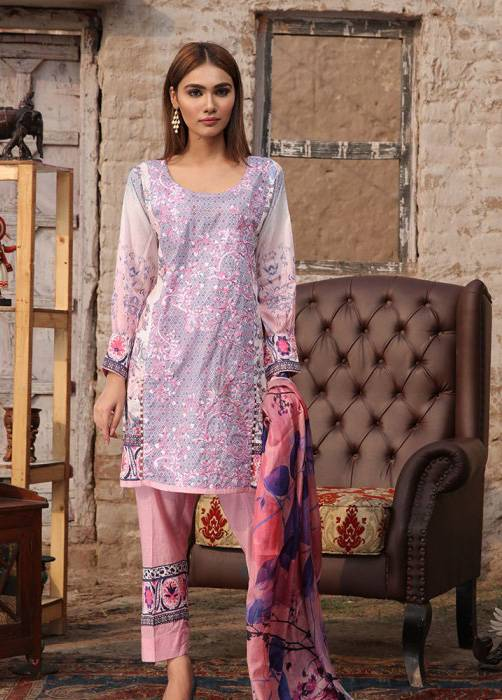 Bashir Ahmed Embroidered Lawn Unstitched 3 Piece Suit BA17E 5A