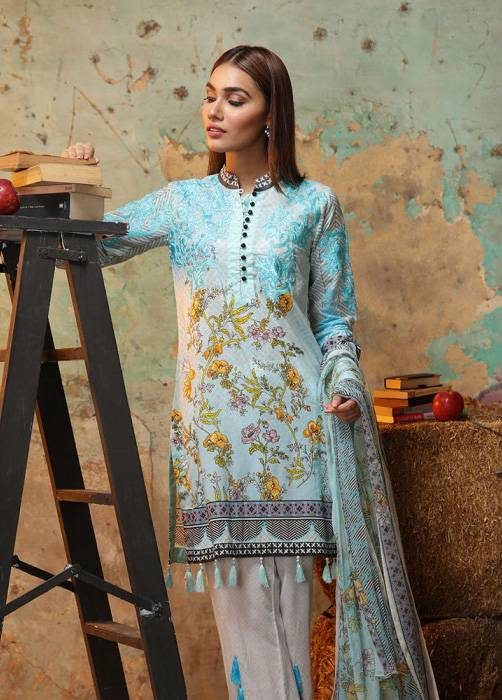 Bashir Ahmed Embroidered Lawn Unstitched 3 Piece Suit BA17E 7B