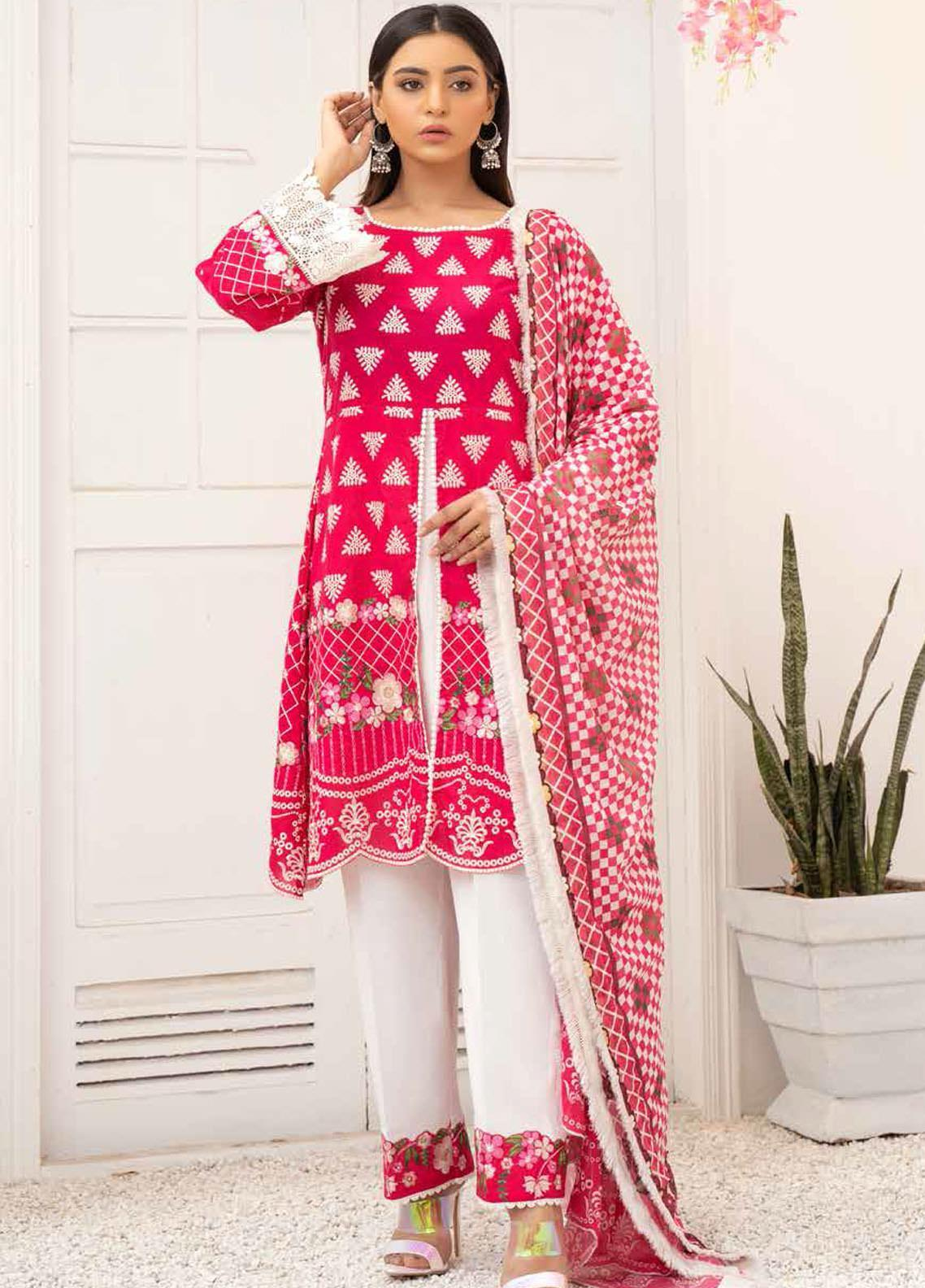 Banafsheh Embroidered Lawn Suits Unstitched 3 Piece BF21PE D-02 - Summer Collection