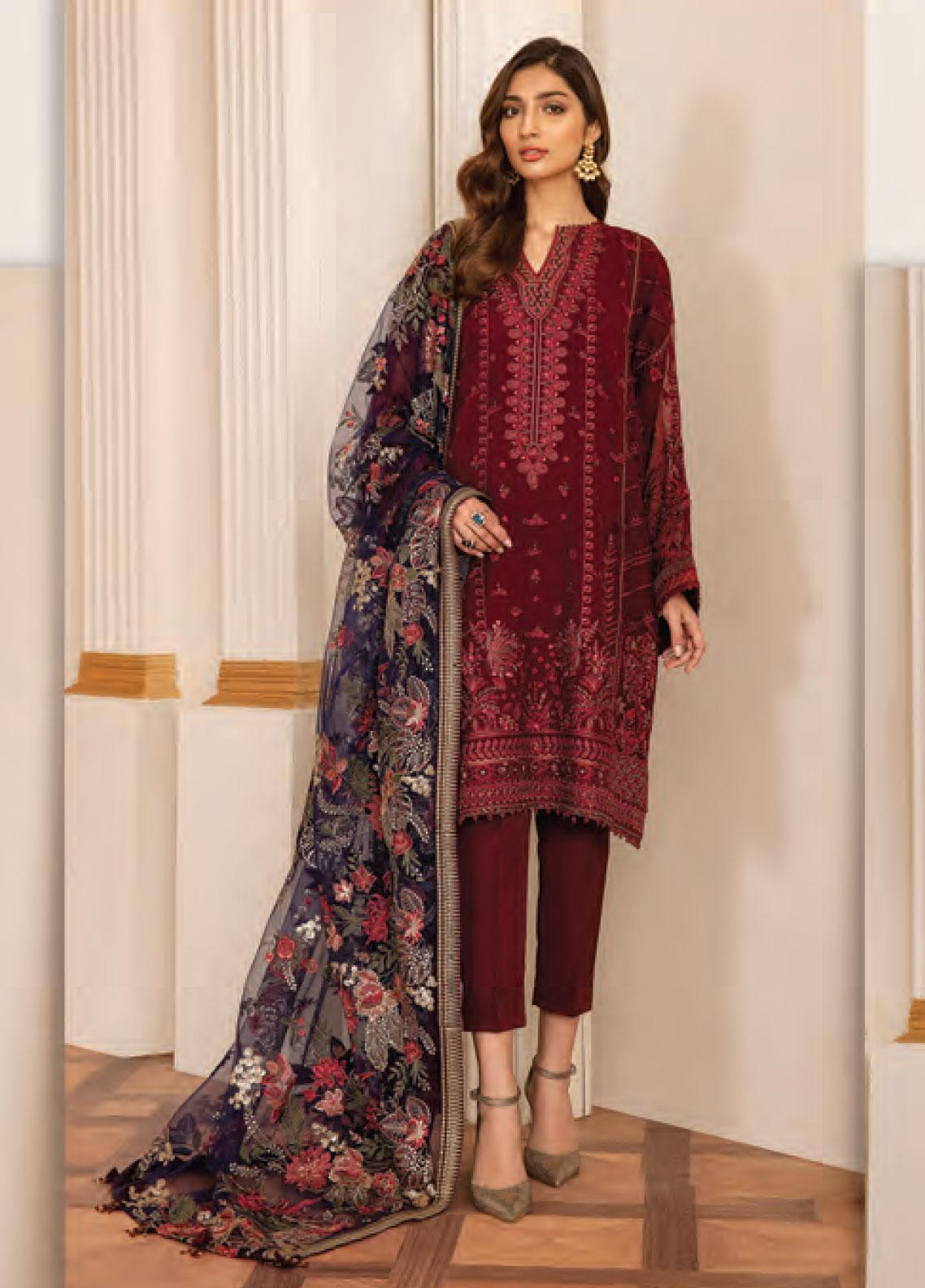 Baroque Embroidered Chiffon Unstitched 3 Piece Suit BQ20C 6 - Festive Collection