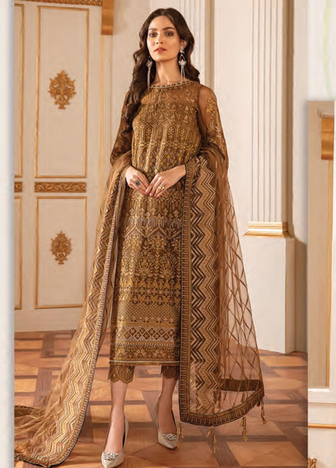 Baroque Embroidered Chiffon Unstitched 3 Piece Suit BQ20C 7 - Festive Collection