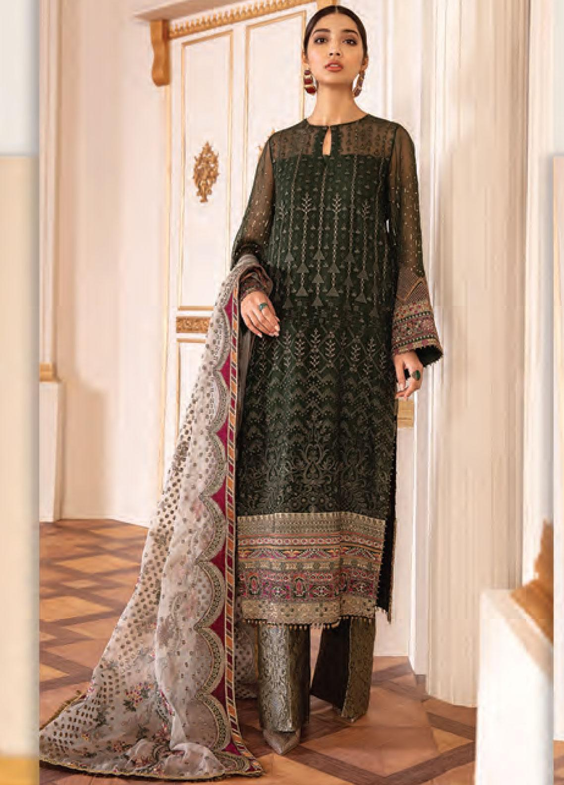 Baroque Embroidered Chiffon Unstitched 3 Piece Suit BQ20C 8 - Festive Collection