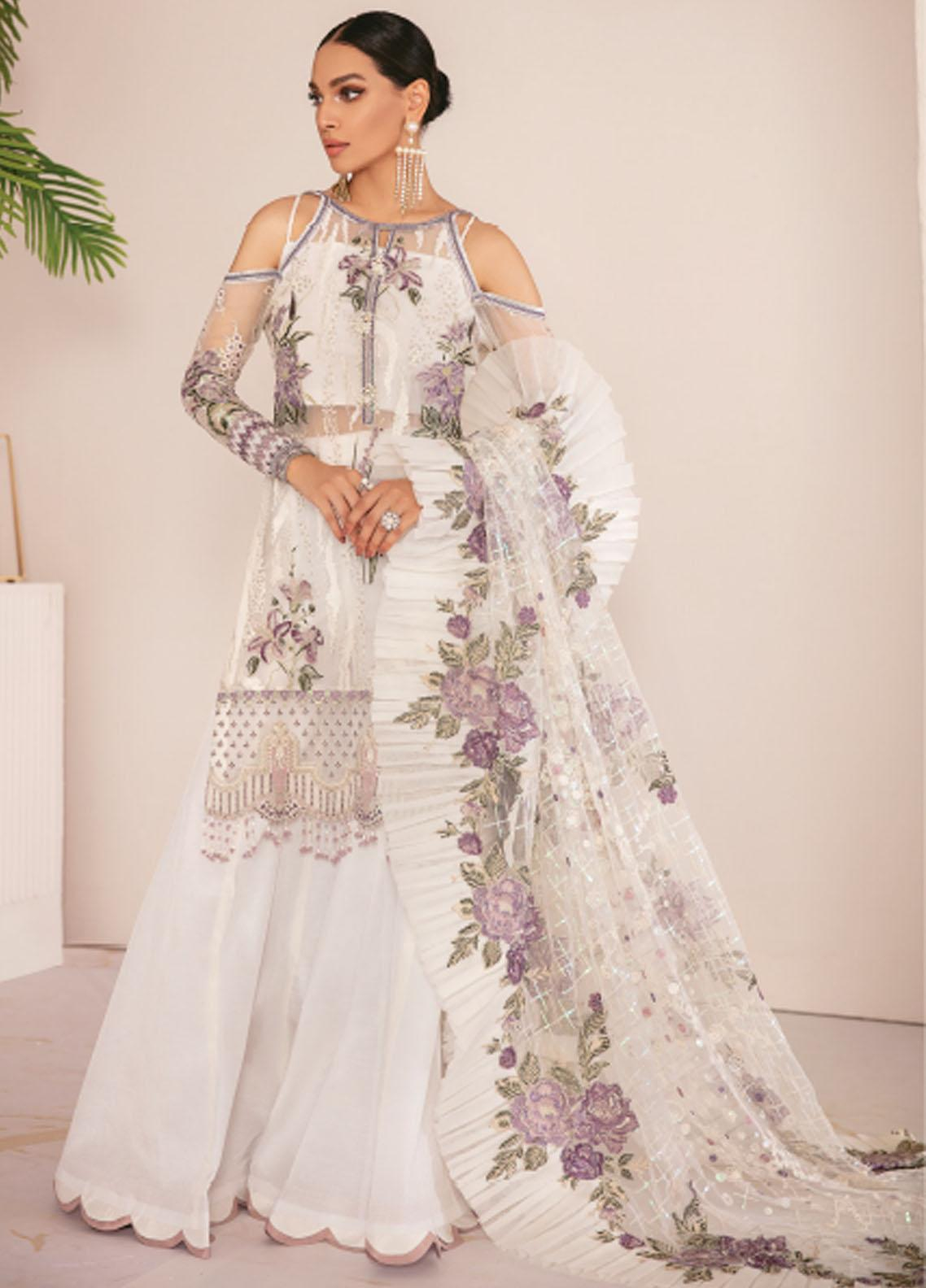 Chantelle By Baroque Embroidered Chiffon Unstitched 3 Piece Suit BQ21C 03 Flo White - Luxury Collection