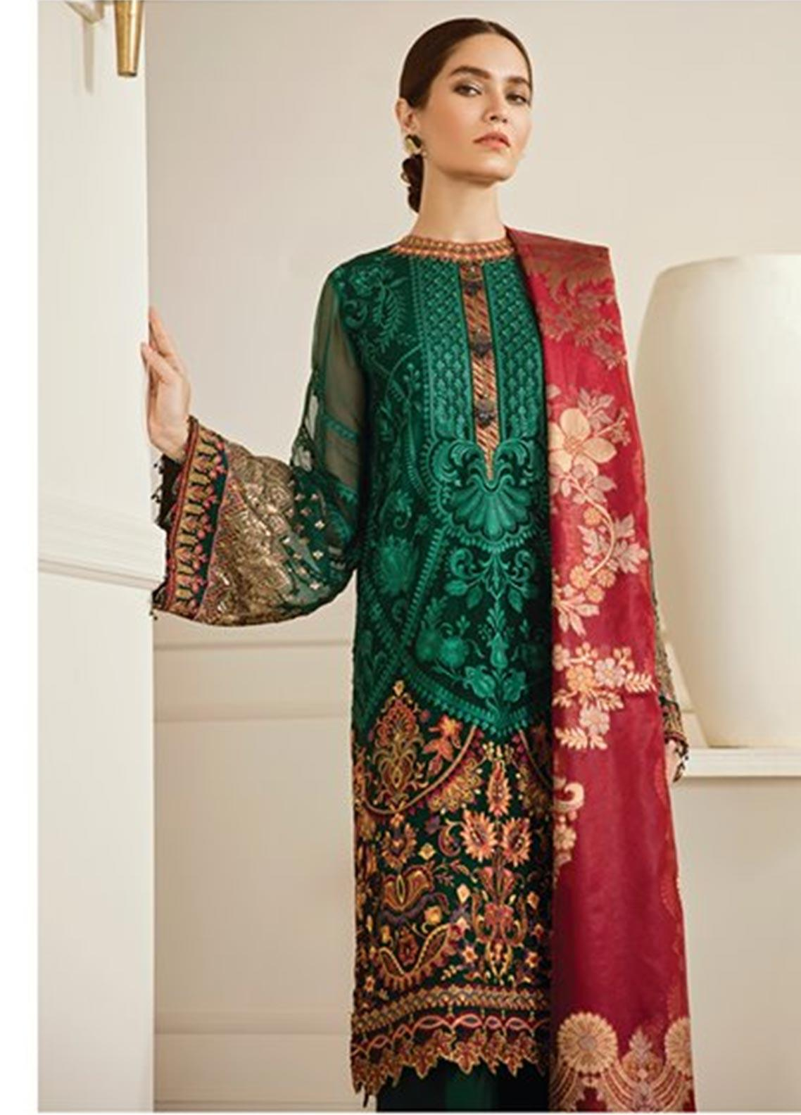Baroque Embroidered Chiffon Unstitched 3 Piece Suit BQ19-C6 08 EMERALD - Luxury Collection
