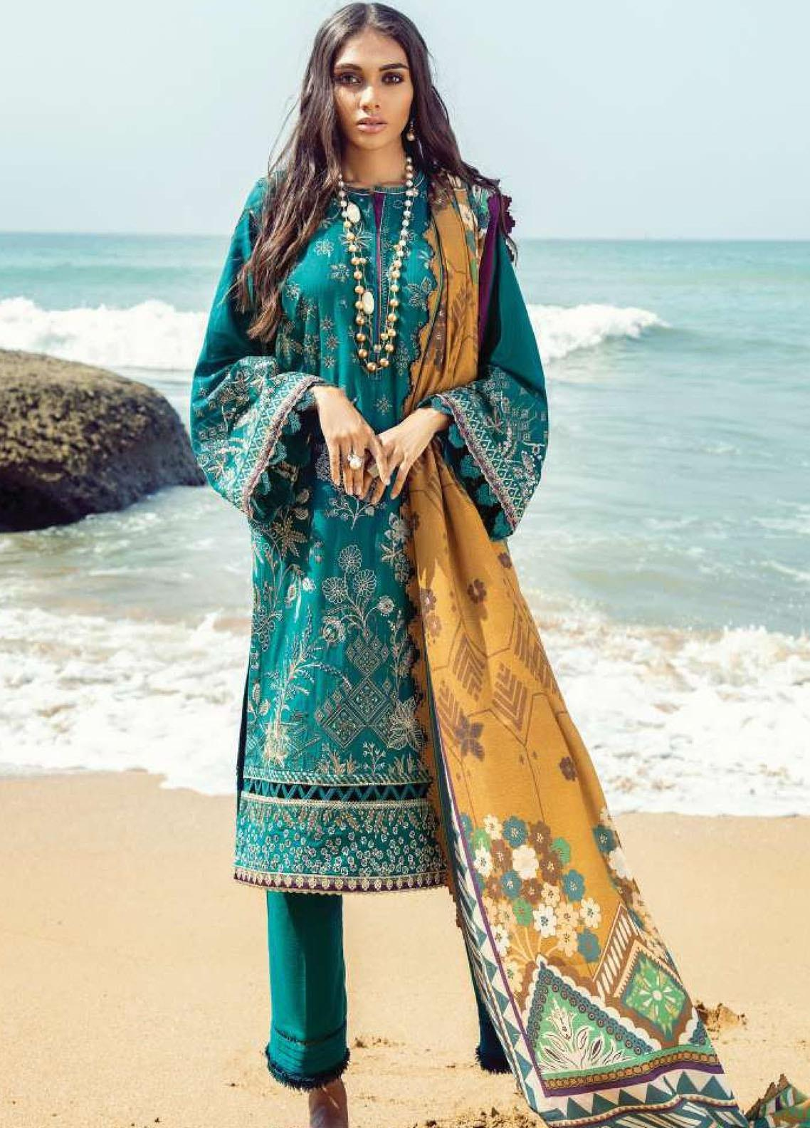 Lehar by Baroque  Embroidered Khaddar Unstitched 3 Piece Suit BQ20KL 01-TURQUOISE - Festive Collection