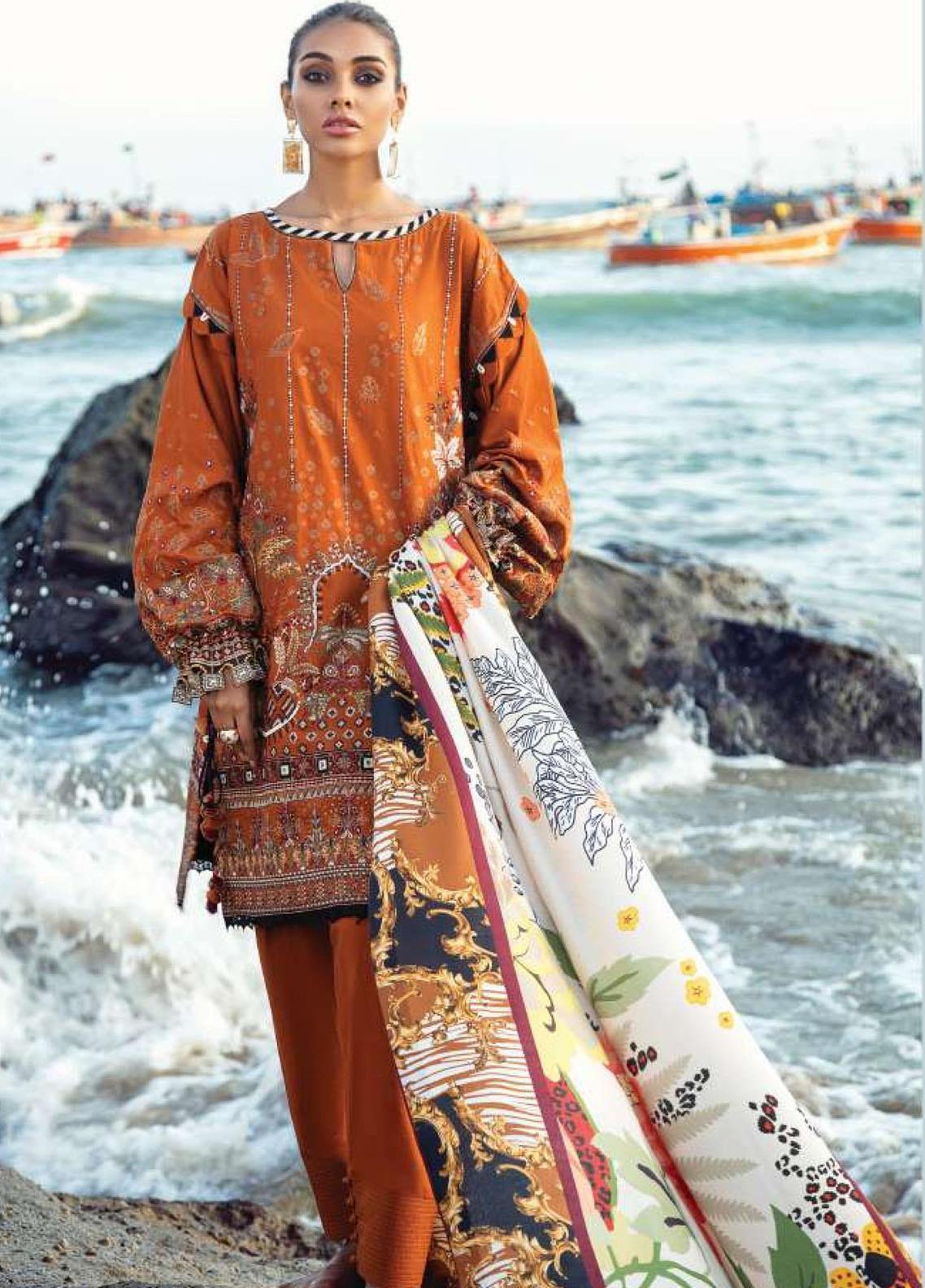 Lehar by Baroque  Embroidered Khaddar Unstitched 3 Piece Suit BQ20KL 03-SAFFRON - Festive Collection