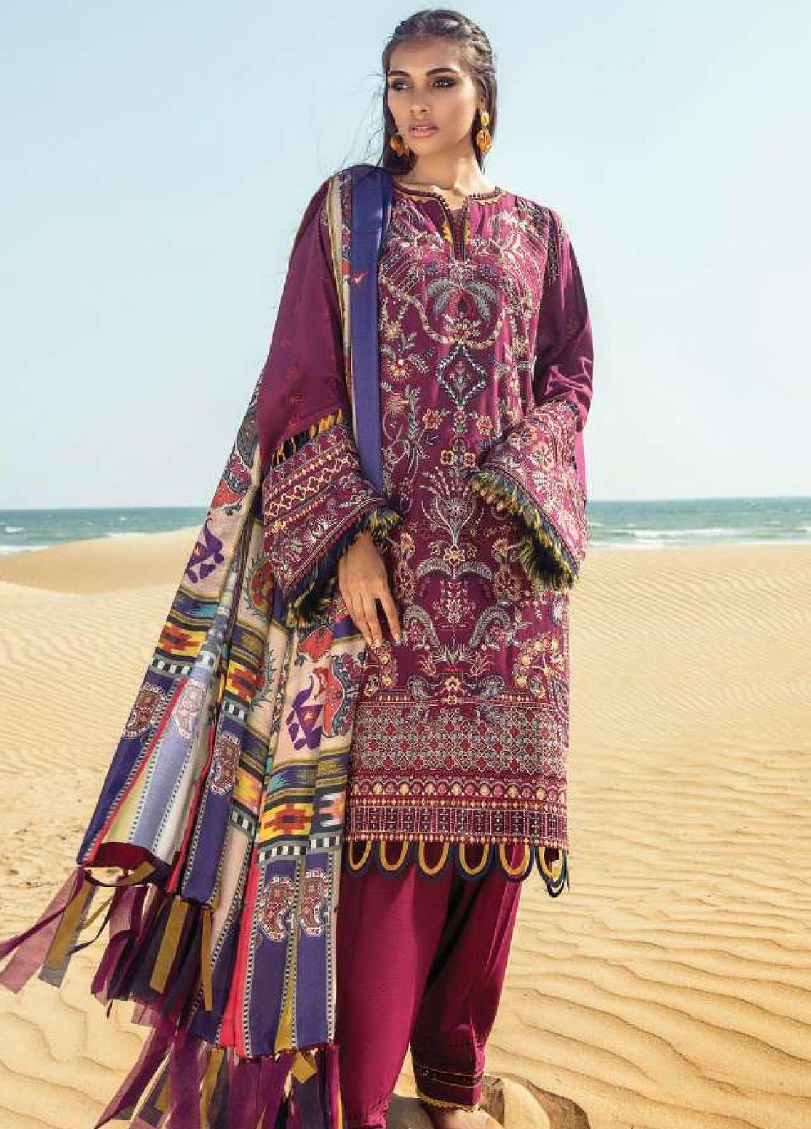 Lehar by Baroque  Embroidered Khaddar Unstitched 3 Piece Suit BQ20KL 04-DARK LILAC - Festive Collection
