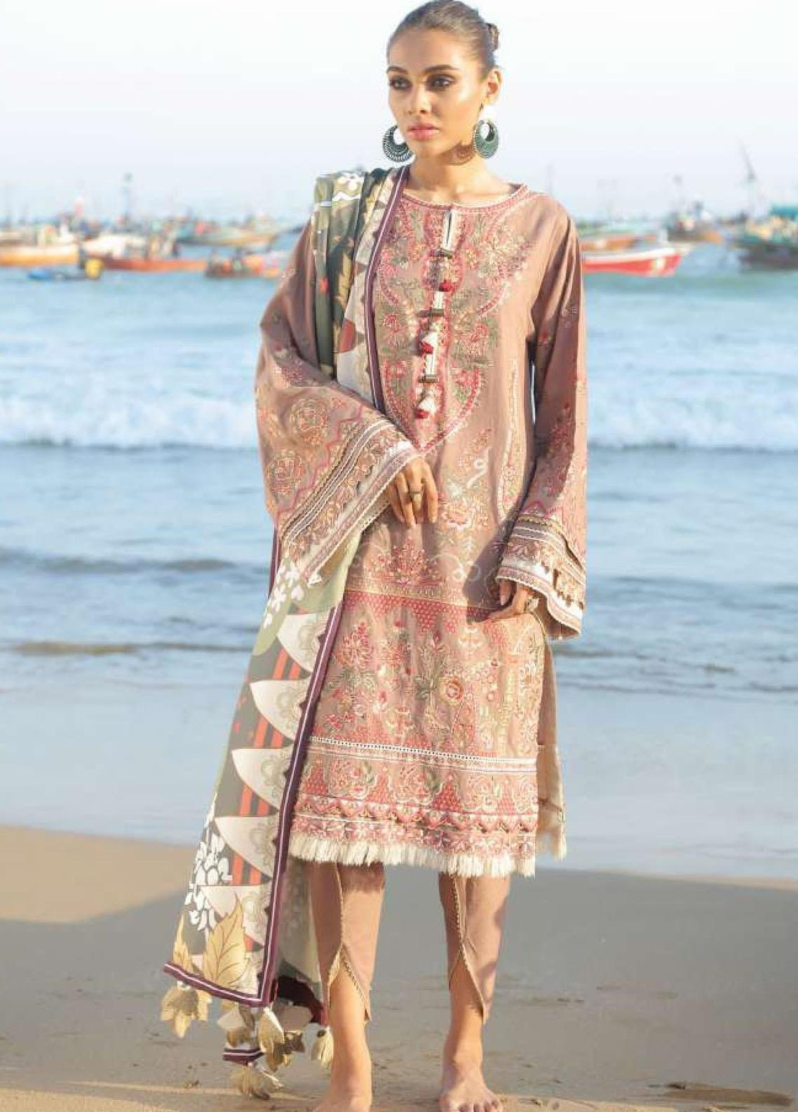 Lehar by Baroque  Embroidered Khaddar Unstitched 3 Piece Suit BQ20KL 05-VINTAGE TAUPE - Festive Collection