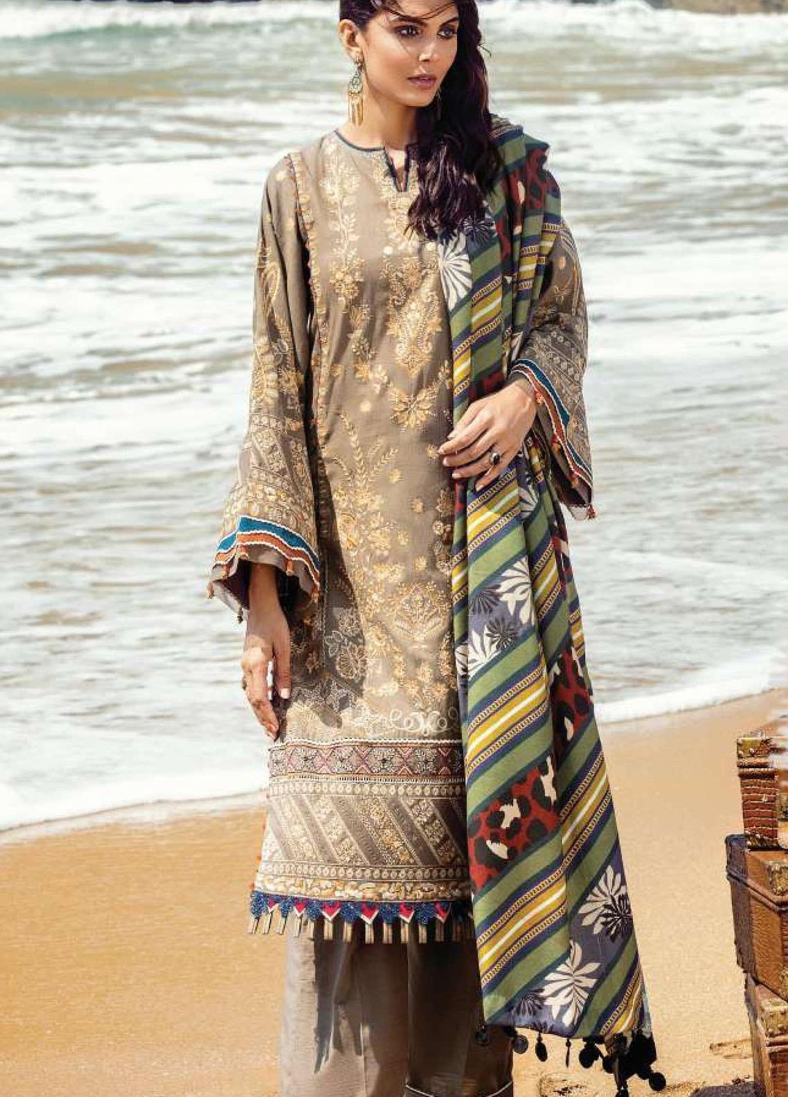 Lehar by Baroque  Embroidered Khaddar Unstitched 3 Piece Suit BQ20KL 07-HAZEL WOOD - Festive Collection