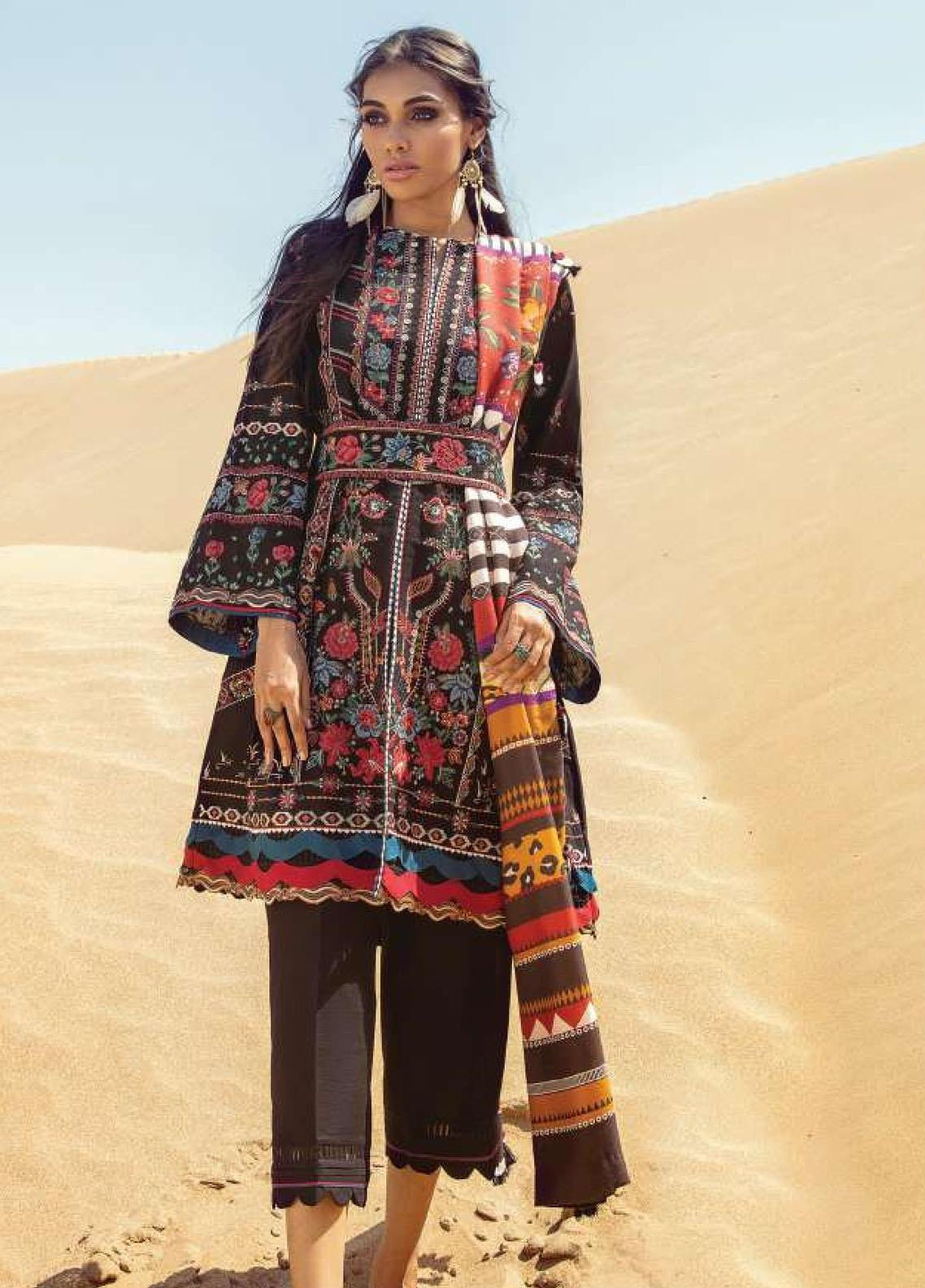 Lehar by Baroque  Embroidered Khaddar Unstitched 3 Piece Suit BQ20KL 08-HOBBY INK - Festive Collection
