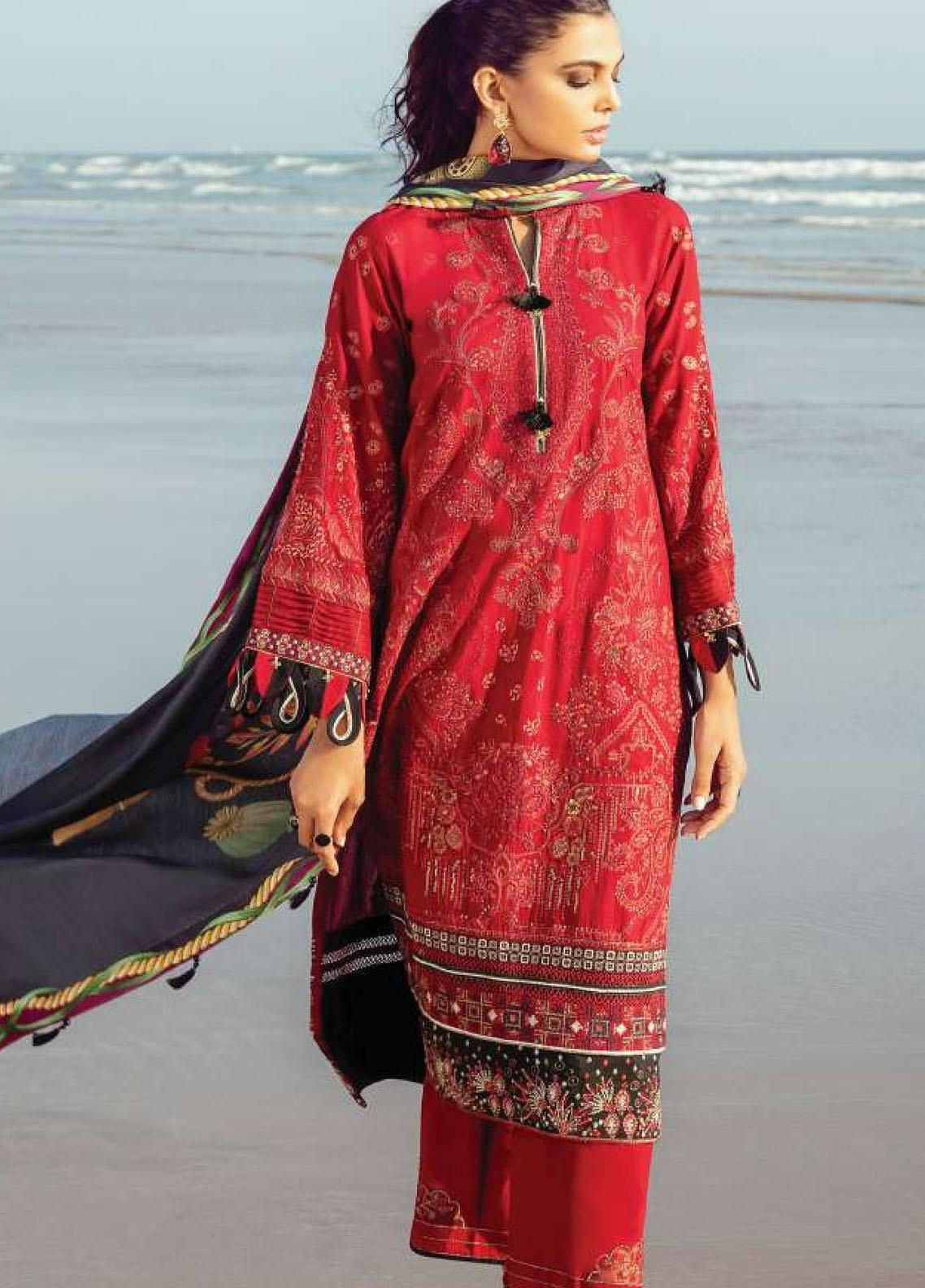 Lehar by Baroque  Embroidered Khaddar Unstitched 3 Piece Suit BQ20KL 09-CORAL - Festive Collection