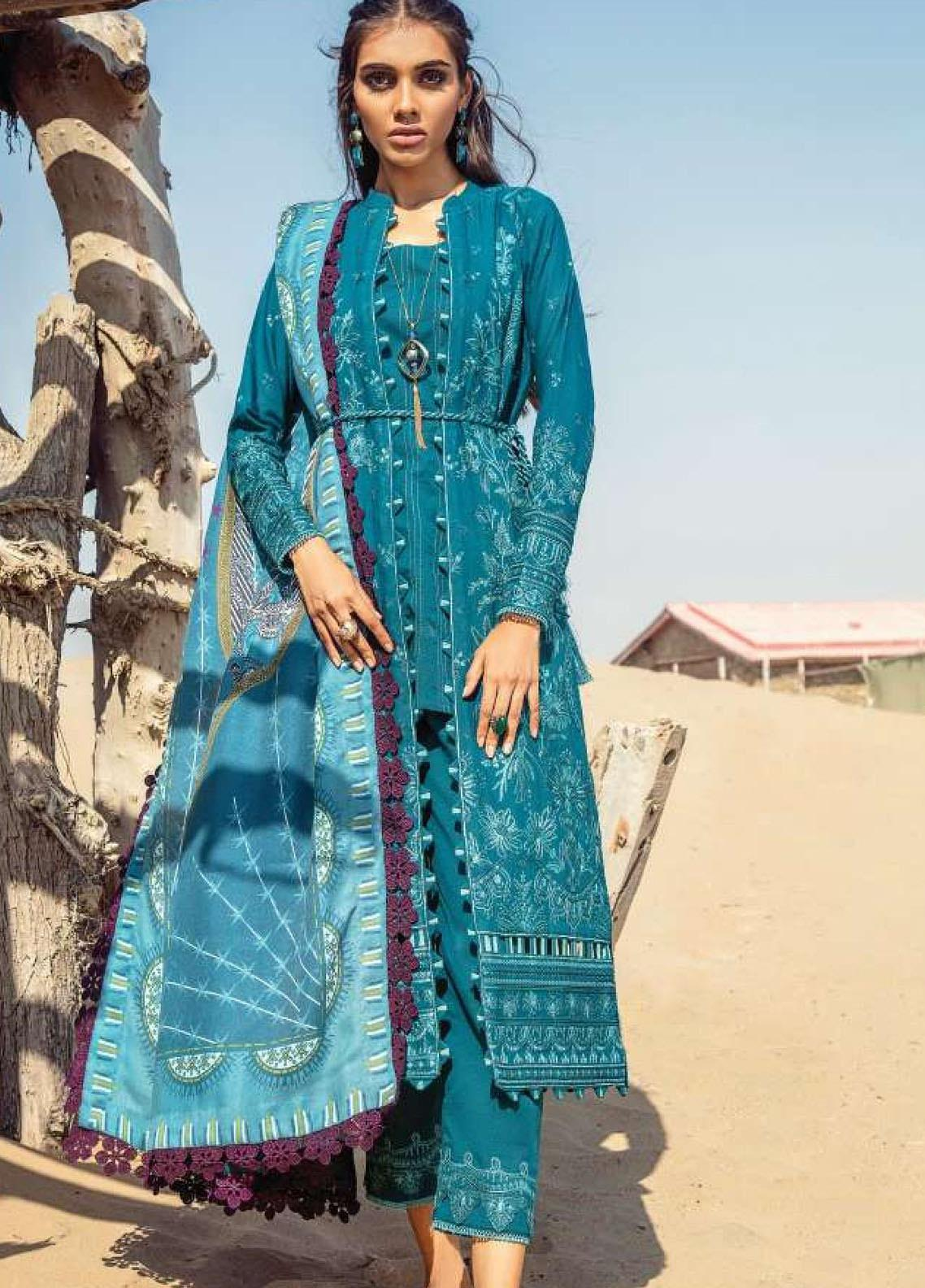 Lehar by Baroque  Embroidered Khaddar Unstitched 3 Piece Suit BQ20KL 10-AEGEAN - Festive Collection