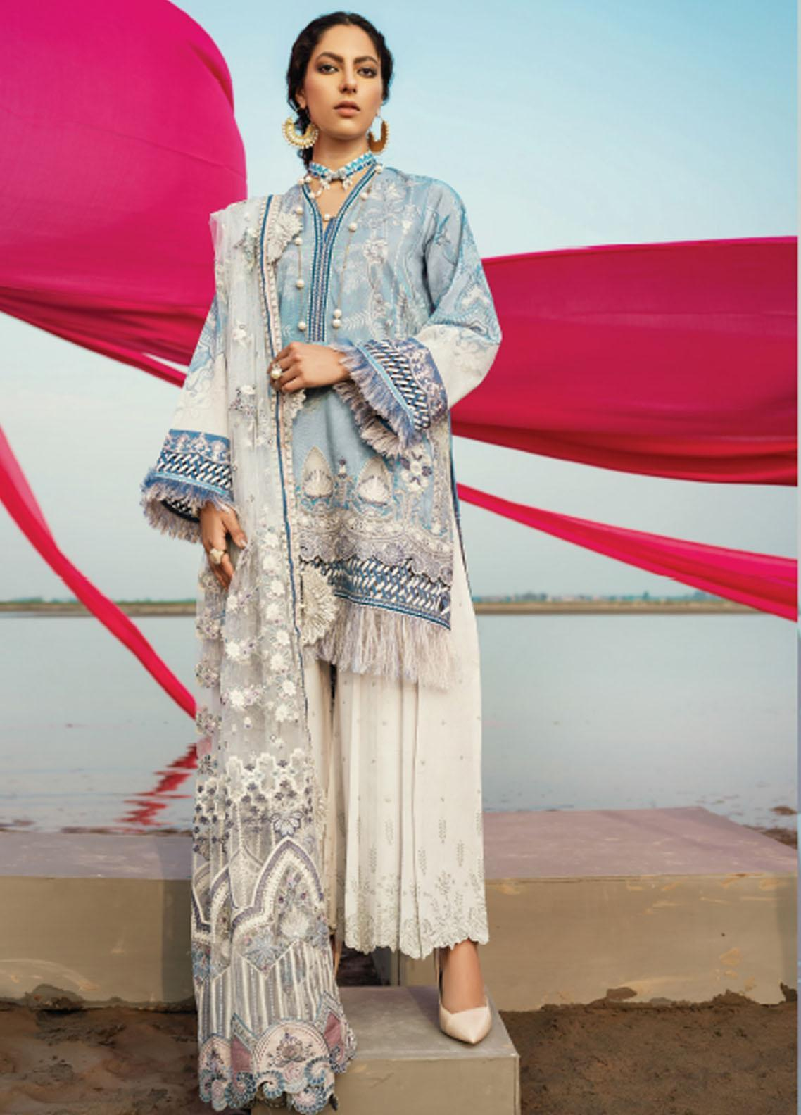 Baroque Embroidered Lawn Suits Unstitched 3 Piece BQ21SL 01 Salvia - Summer Collection
