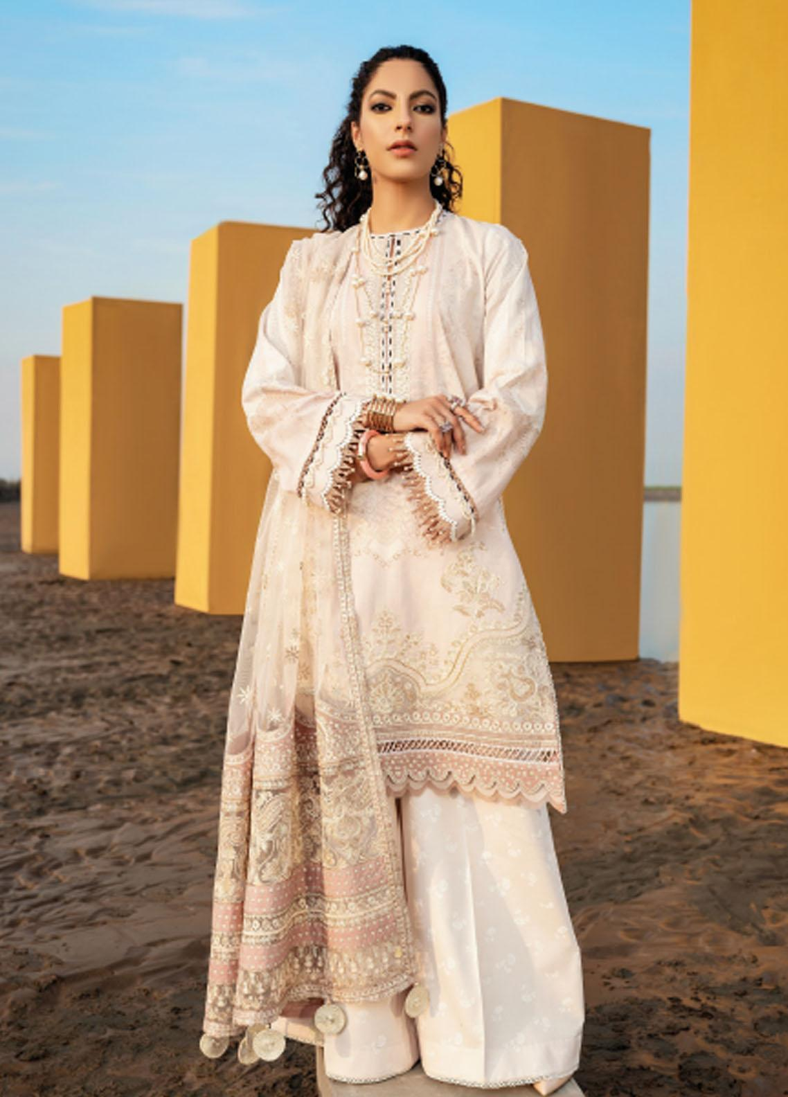 Baroque Embroidered Lawn Suits Unstitched 3 Piece BQ21SL 04 Cleome - Summer Collection