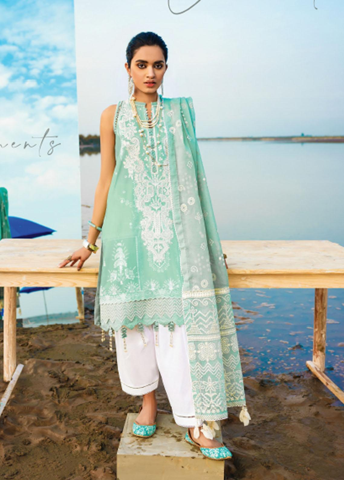 Baroque Embroidered Lawn Suits Unstitched 3 Piece BQ21SL 06 Gerbera - Summer Collection