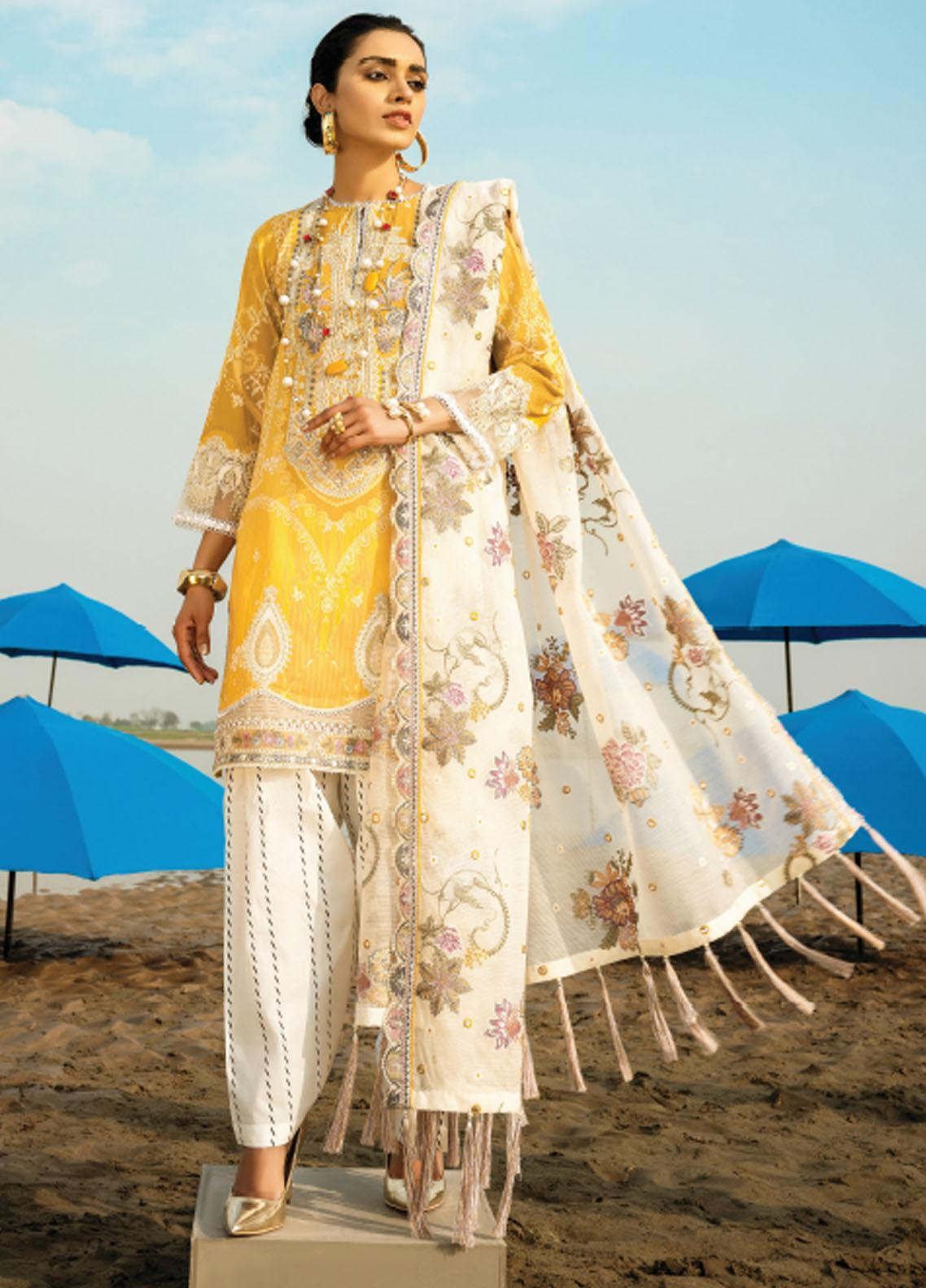 Baroque Embroidered Lawn Suits Unstitched 3 Piece BQ21SL 07 Alyssum - Summer Collection