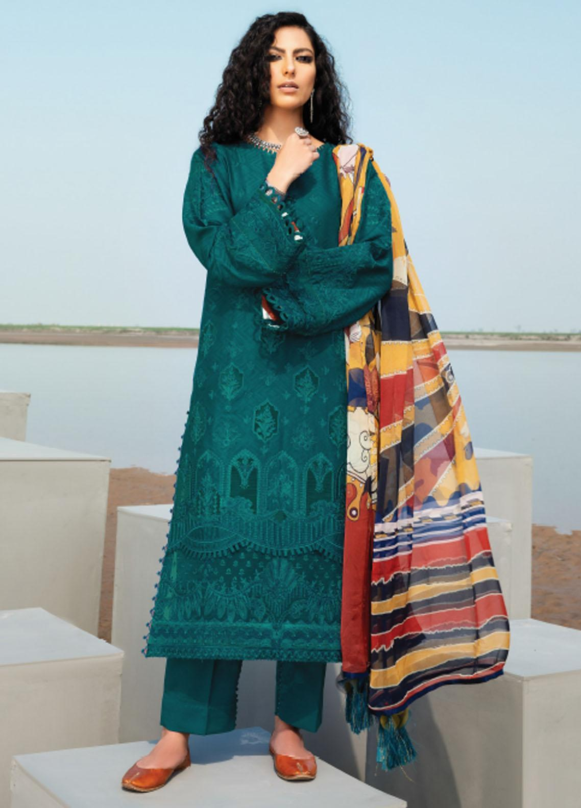 Baroque Embroidered Lawn Suits Unstitched 3 Piece BQ21SL 11 Gentian - Summer Collection