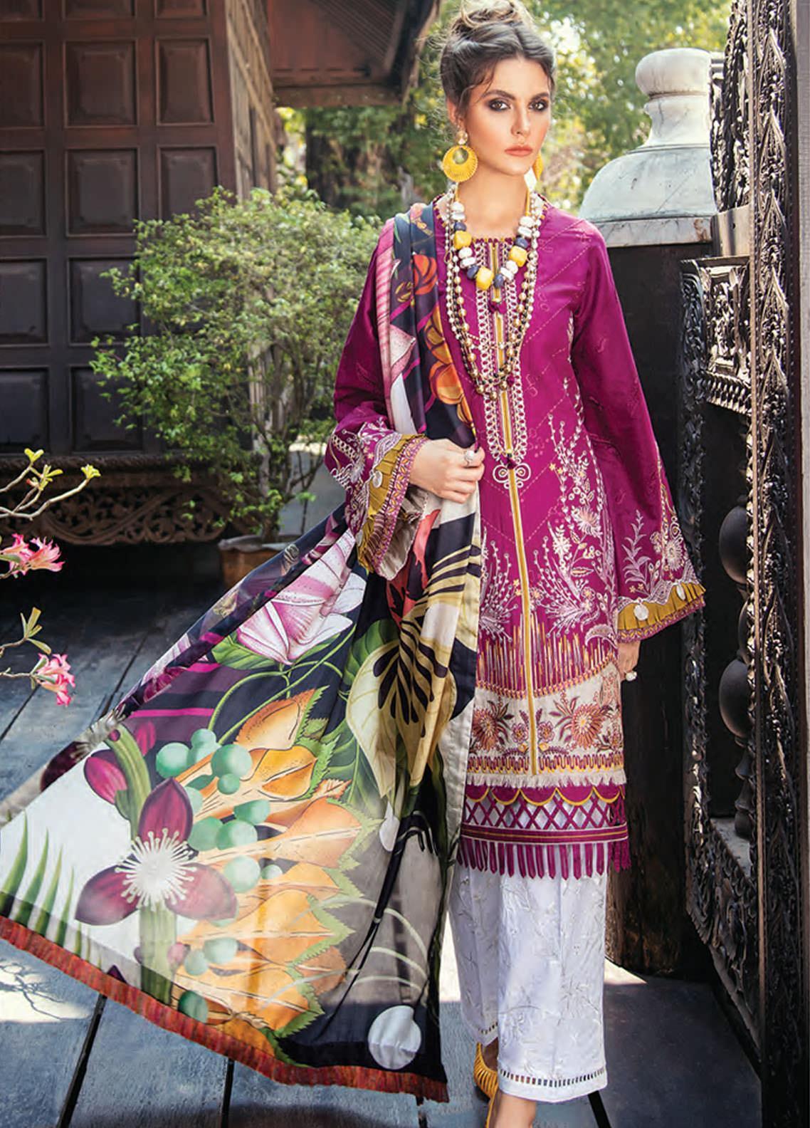 Baroque Embroidered Lawn Unstitched 3 Piece Suit BQ20E 02 VELVETERIA - Eid Collection