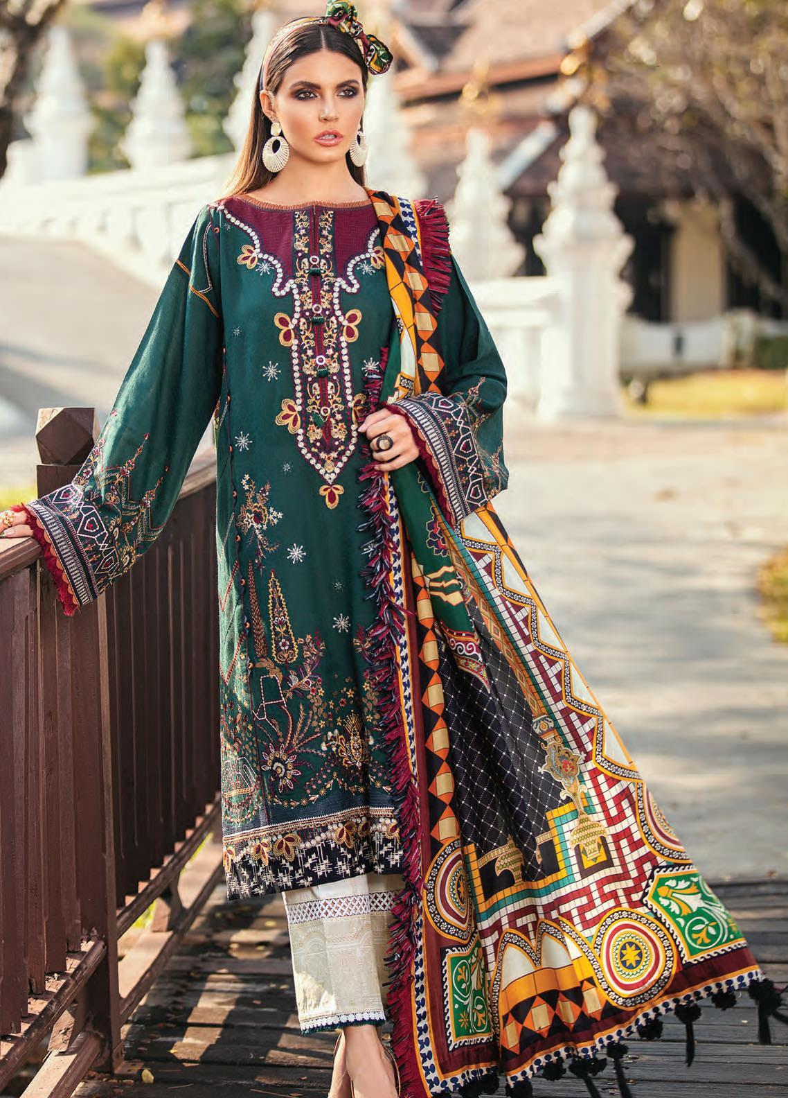Baroque Embroidered Lawn Unstitched 3 Piece Suit BQ20E 03 GREEN VALLEY - Eid Collection