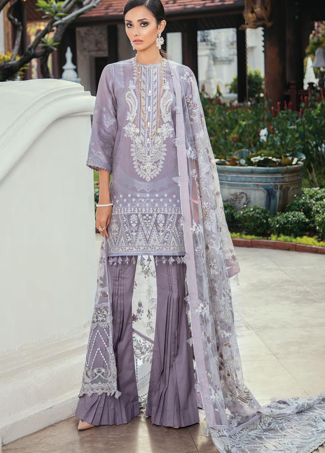 Baroque Embroidered Lawn Unstitched 3 Piece Suit BQ20E 04 LILAC MIST - Eid Collection