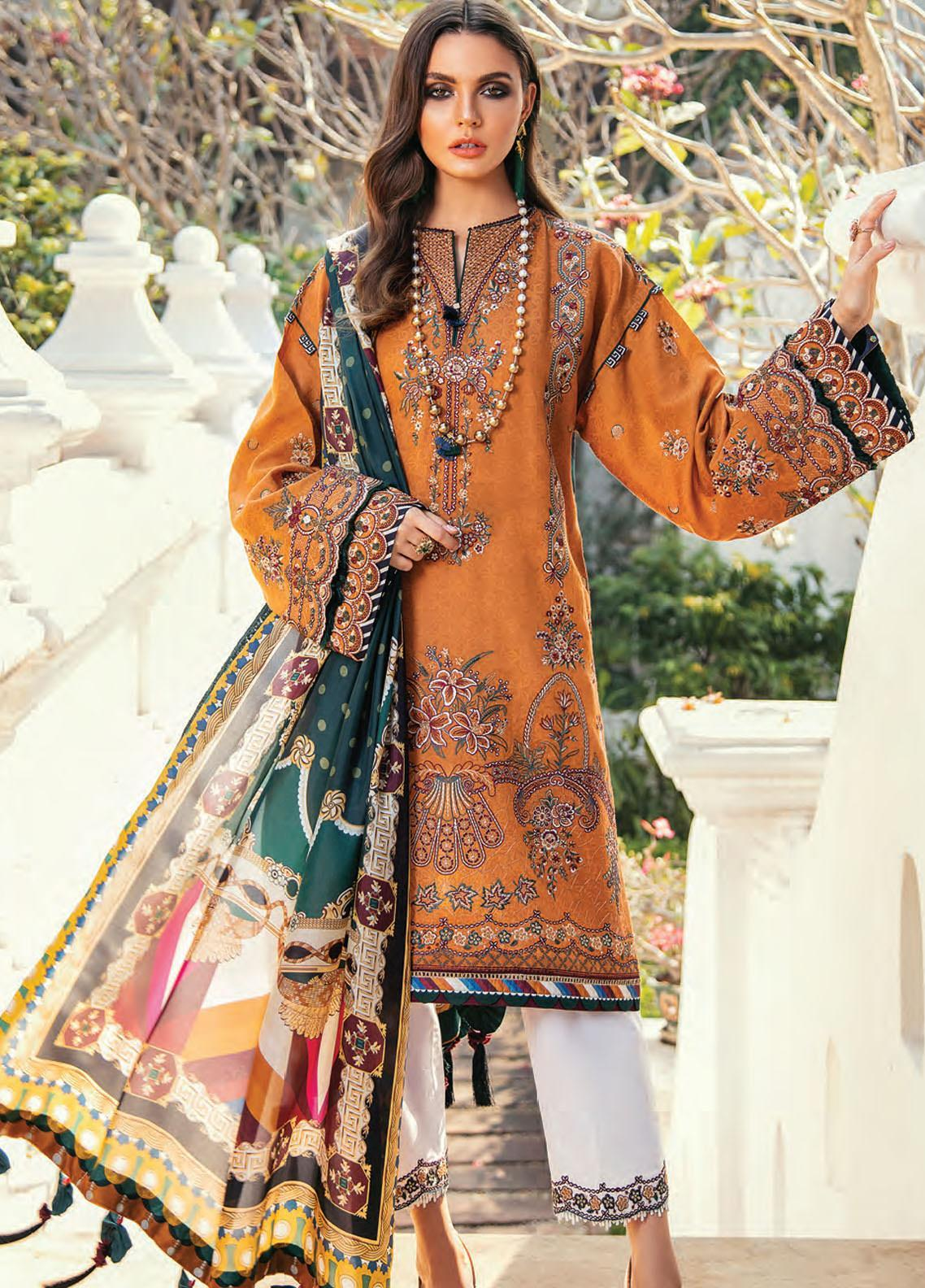 Baroque Embroidered Lawn Unstitched 3 Piece Suit BQ20E 05 SEA RADIANCE - Eid Collection