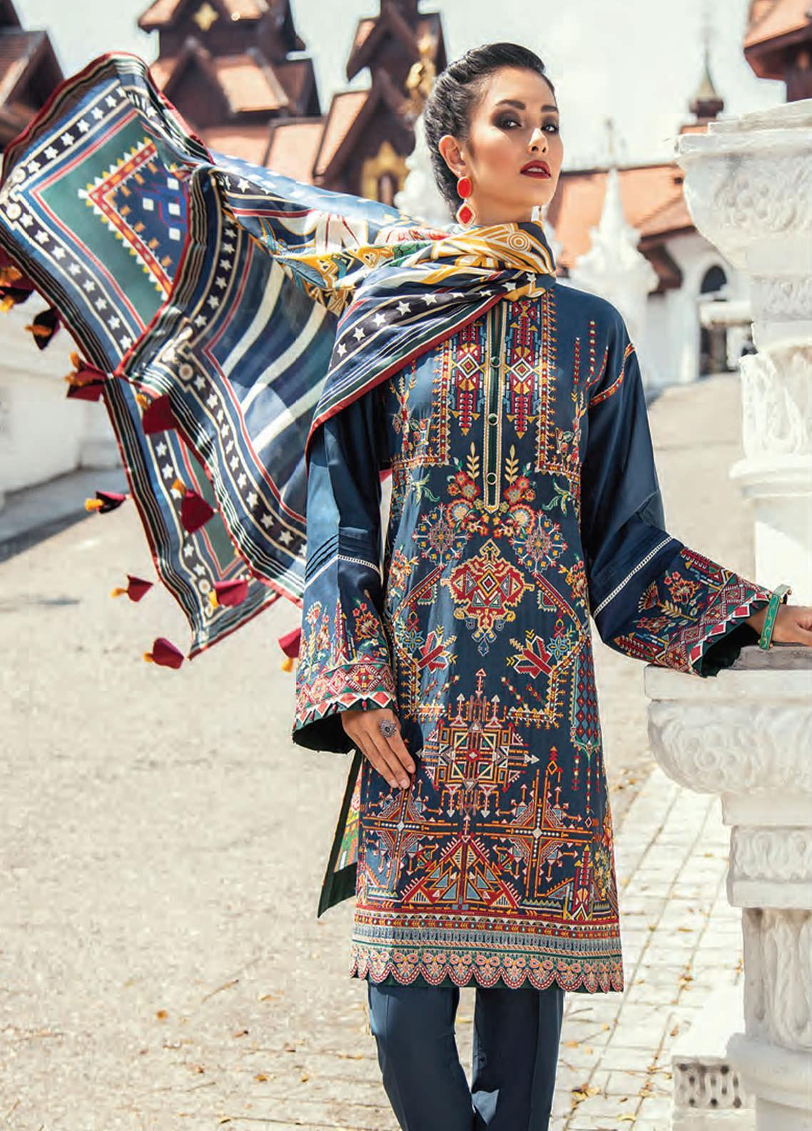 Baroque Embroidered Lawn Unstitched 3 Piece Suit BQ20E 06 NIGHT GLOW - Eid Collection