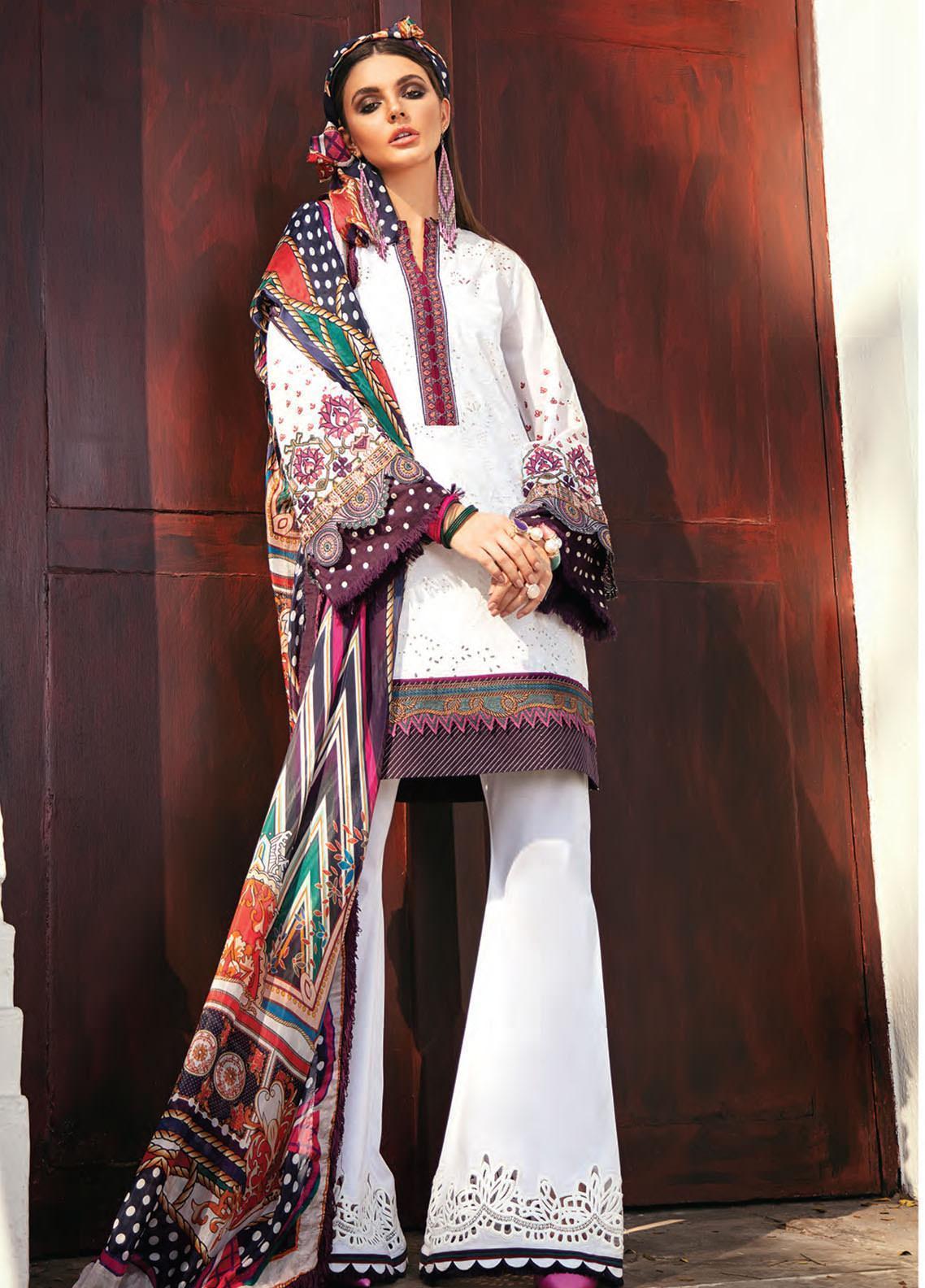 Baroque Embroidered Lawn Unstitched 3 Piece Suit BQ20E 09 CLOUD WAVE - Eid Collection