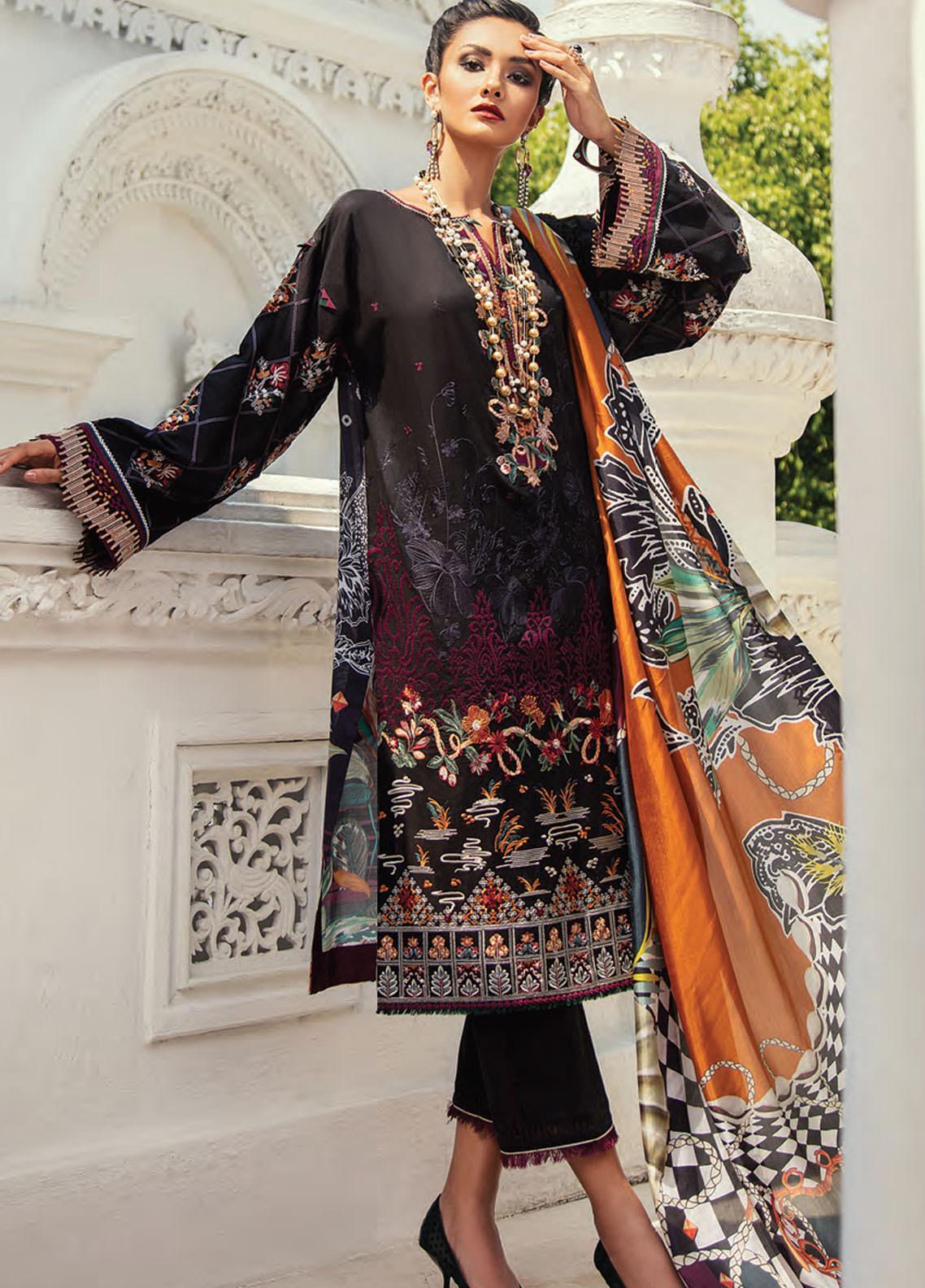 Baroque Embroidered Lawn Unstitched 3 Piece Suit BQ20E 10 BLACK TREASURE - Eid Collection