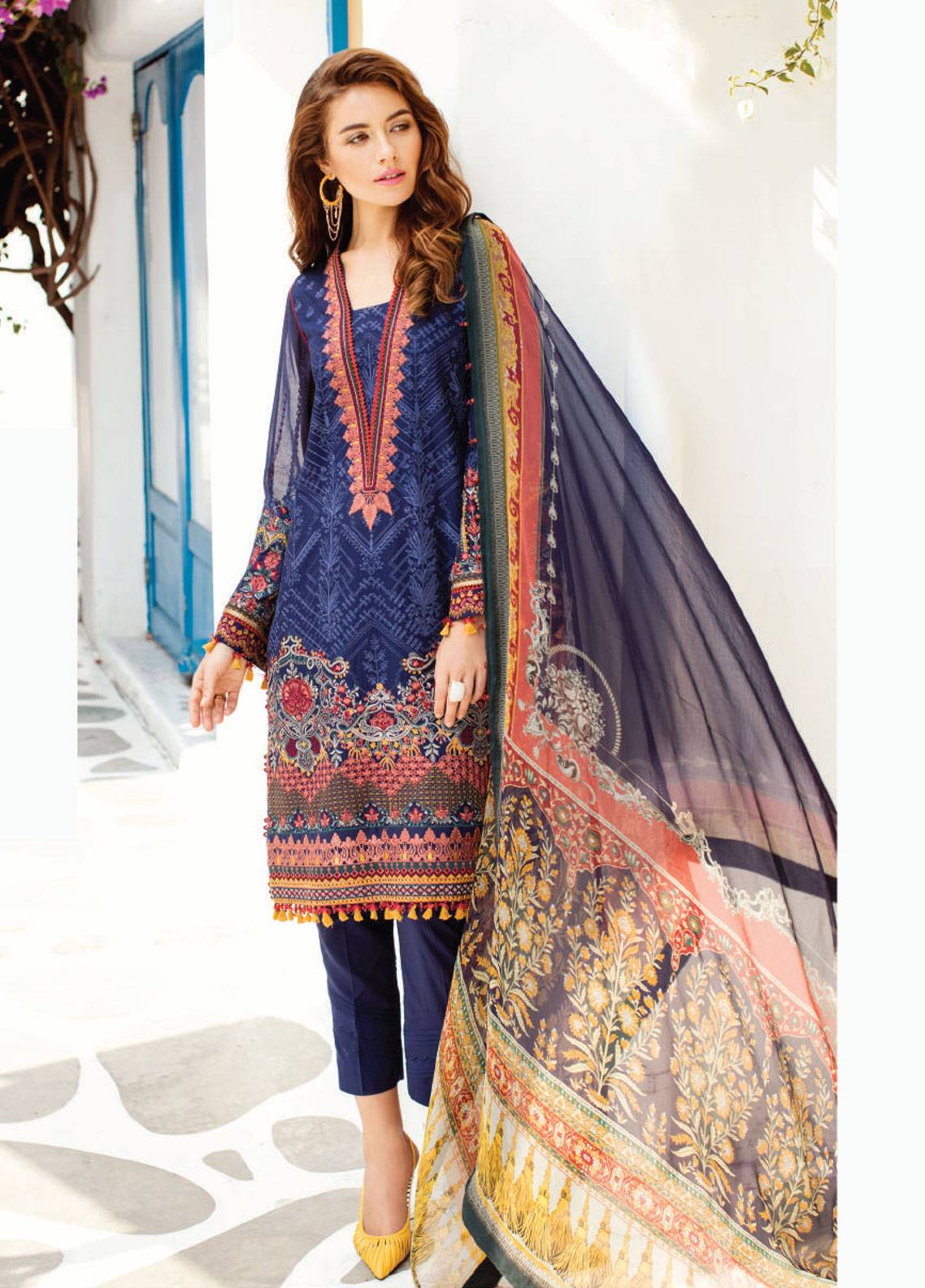 Baroque Embroidered Swiss Voile Unstitched 3 Piece Suit BQ19S 06 NAVY ROMANCE - Spring / Summer Collection