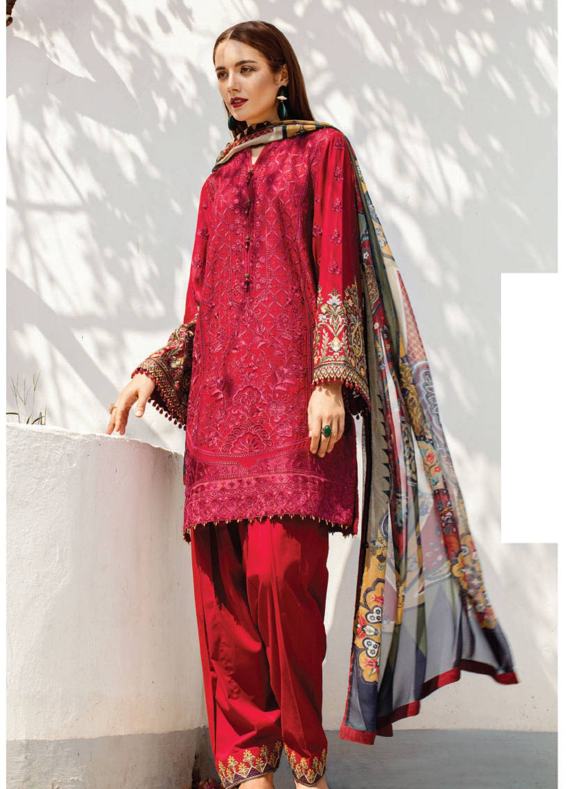Baroque Embroidered Swiss Voile Unstitched 3 Piece Suit BQ19S 08 CLARET - Spring / Summer Collection