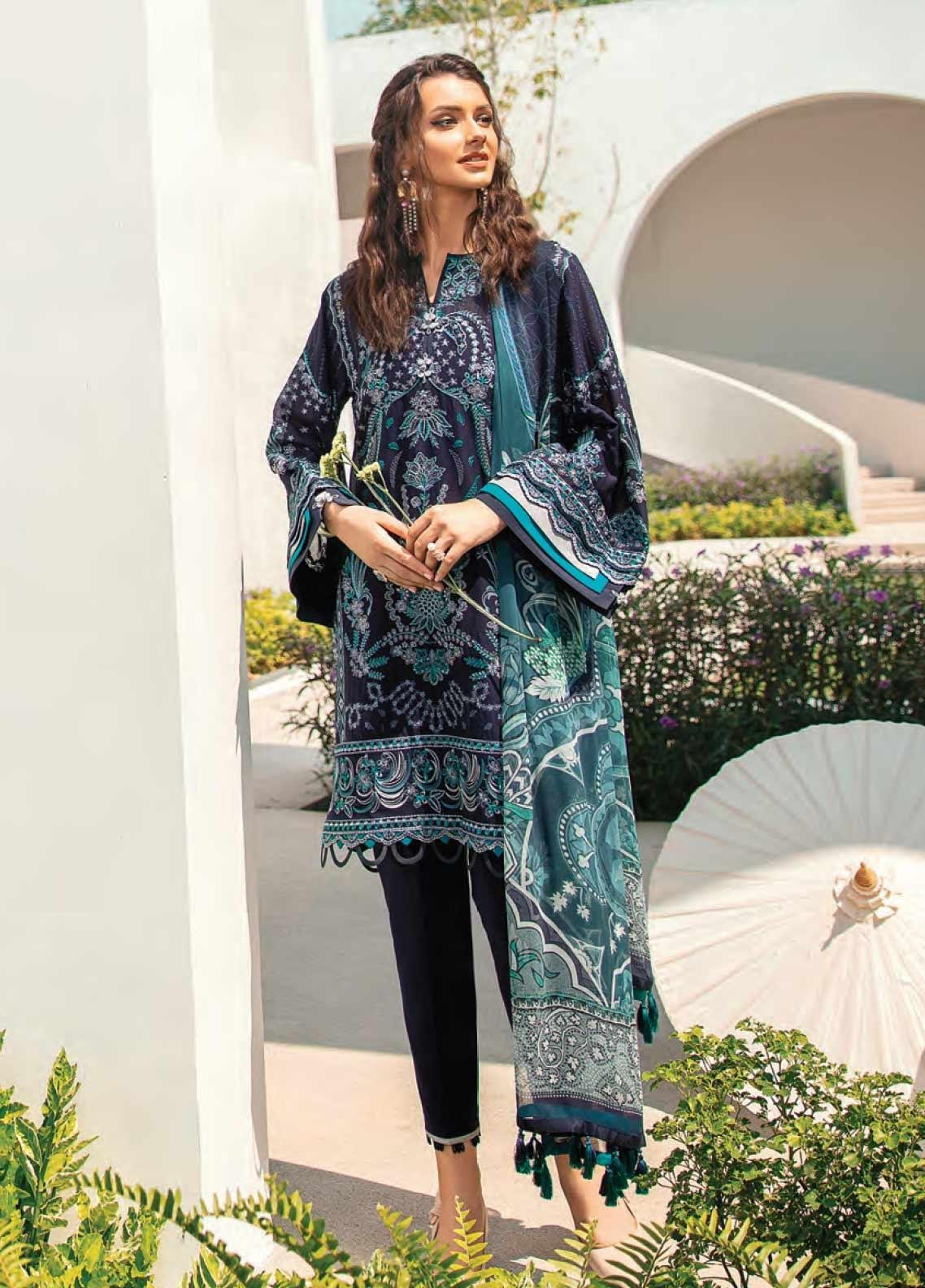 Baroque Embroidered Swiss Voile Unstitched 3 Piece Suit BQ20SV-5 2 - Luxury Collection