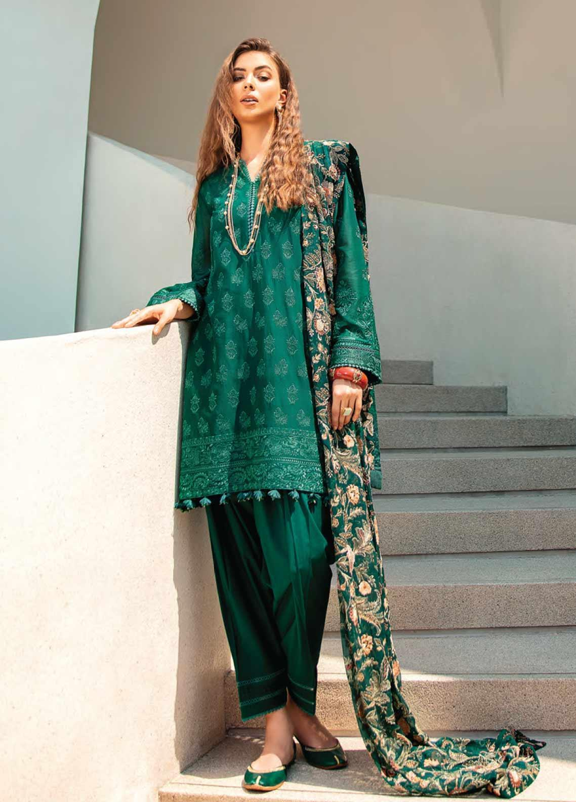 Baroque Embroidered Swiss Voile Unstitched 3 Piece Suit BQ20SV-5 8 - Luxury Collection