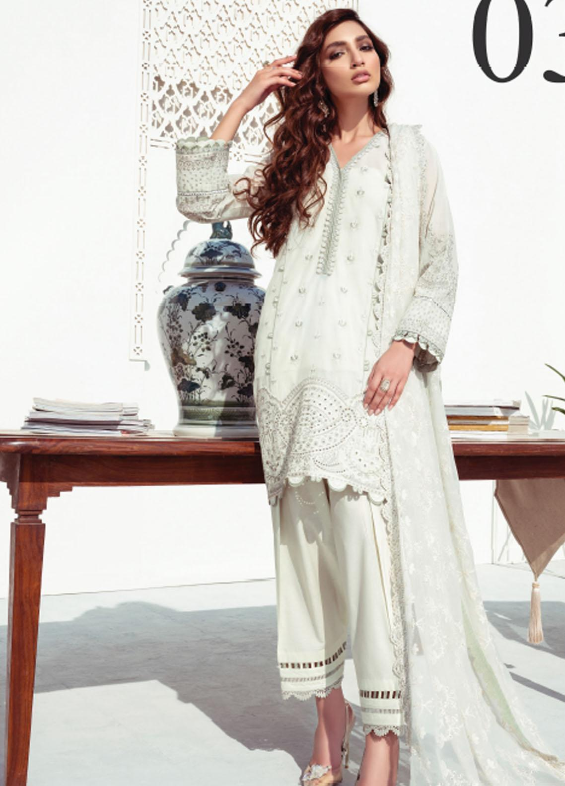 Baroque Embroidered Swiss Voile Suits Unstitched 3 Piece BQ21SV 03 Alabaster - Summer Collection