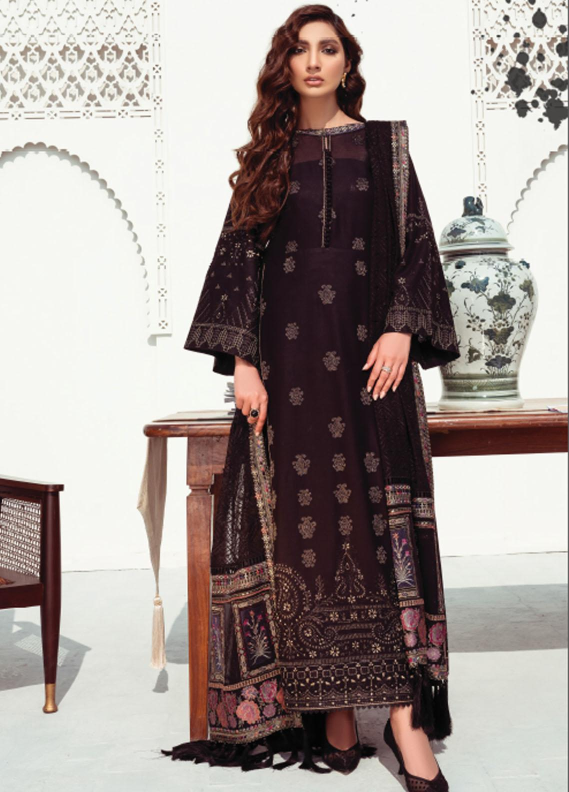 Baroque Embroidered Swiss Voile Suits Unstitched 3 Piece BQ21SV 05 Scabiosa - Summer Collection