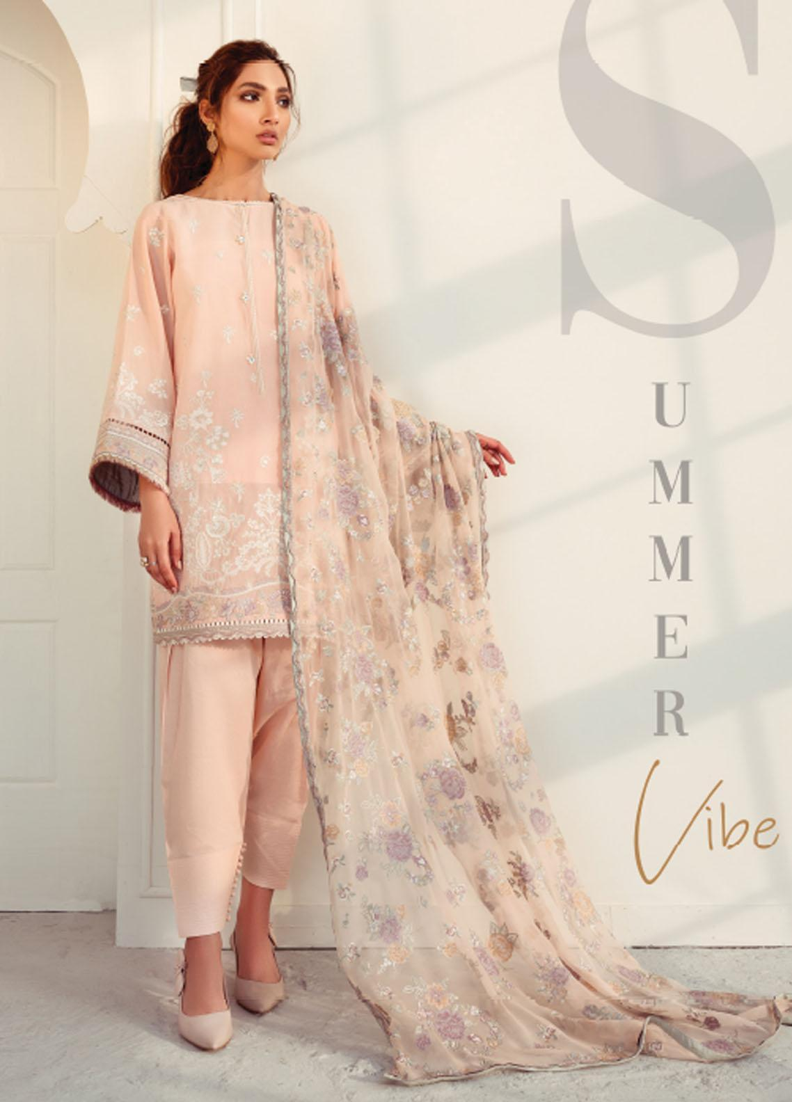 Baroque Embroidered Swiss Voile Suits Unstitched 3 Piece BQ21SV 06 Porcelain - Summer Collection