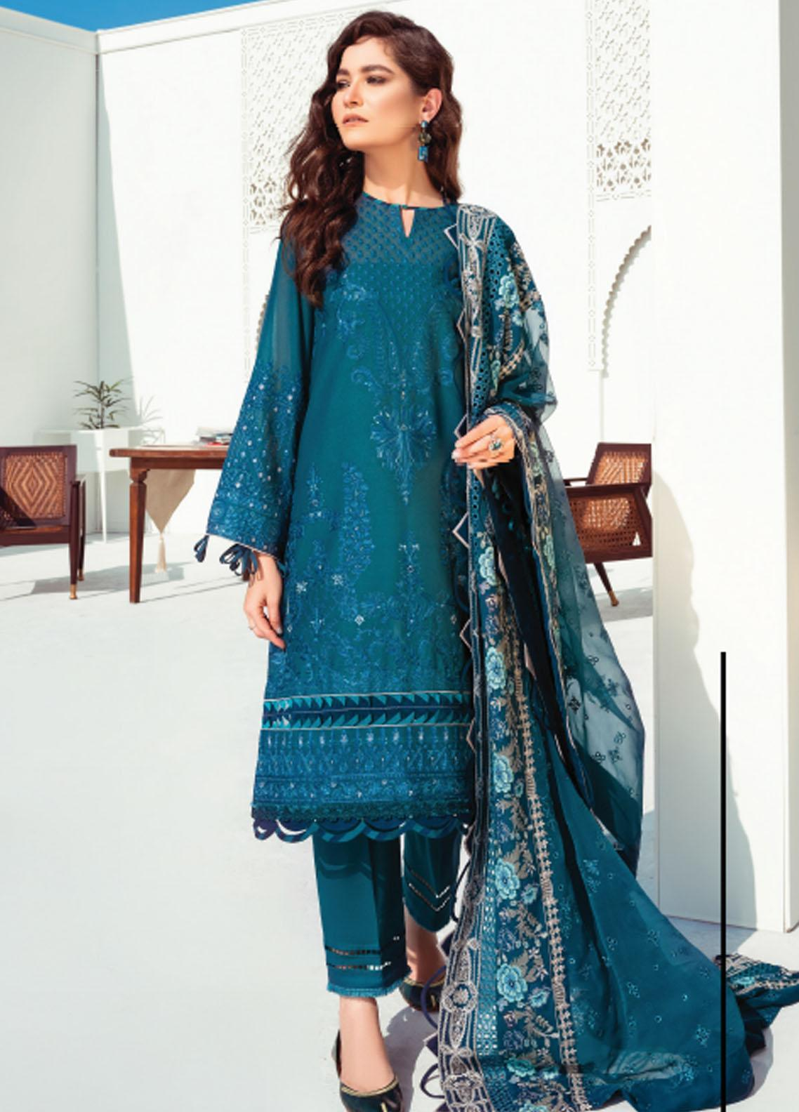 Baroque Embroidered Swiss Voile Suits Unstitched 3 Piece BQ21SV 07 Calendula - Summer Collection