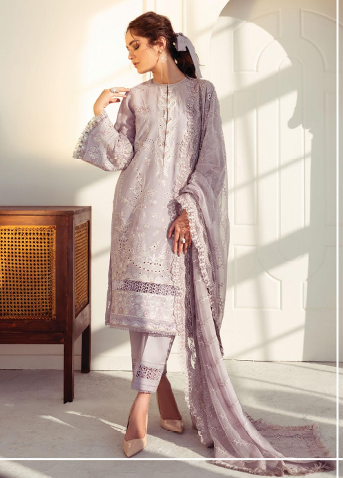 Baroque Embroidered Swiss Voile Suits Unstitched 3 Piece BQ21SV 08 Moonstone - Summer Collection