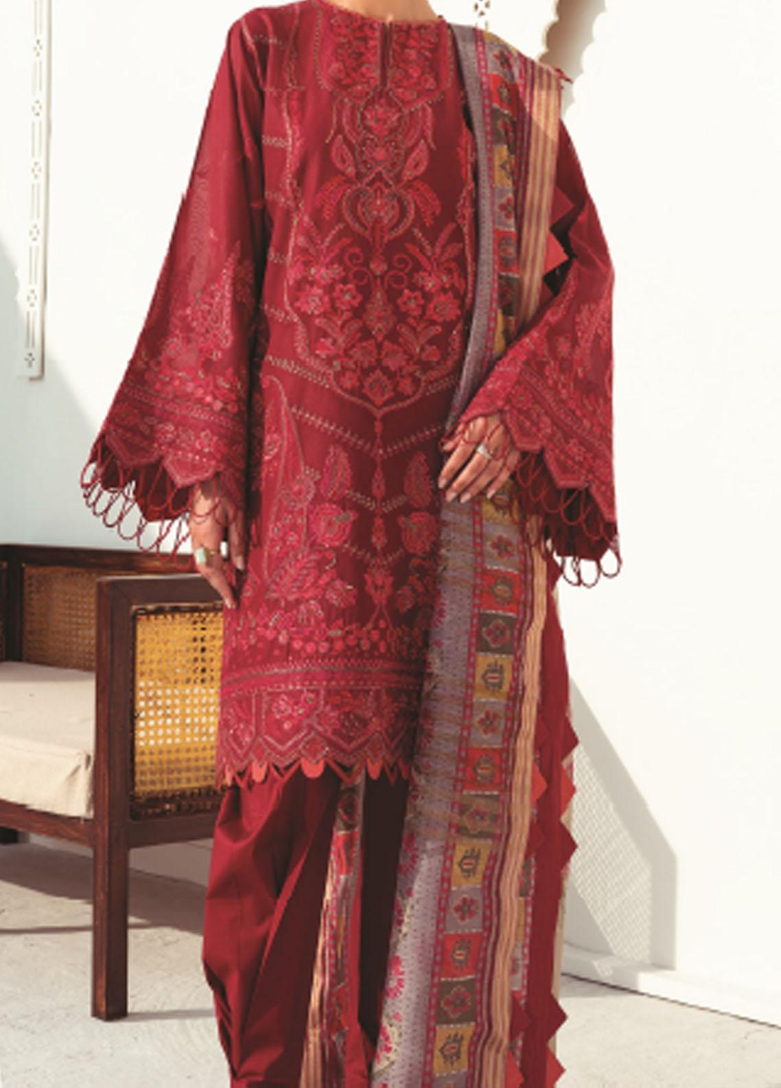 Baroque Embroidered Swiss Voile Suits Unstitched 3 Piece BQ21SV 09 Carnelian - Summer Collection