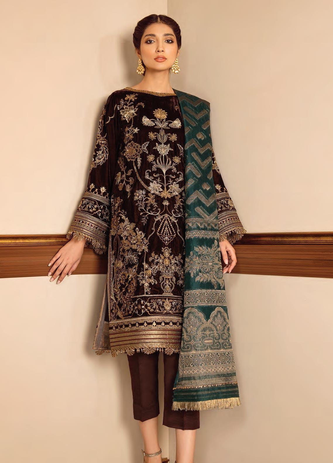 Baroque Embroidered Velvet Unstitched 3 Piece Suit BQ19V 04 GLIMMER EVE - Winter Collection
