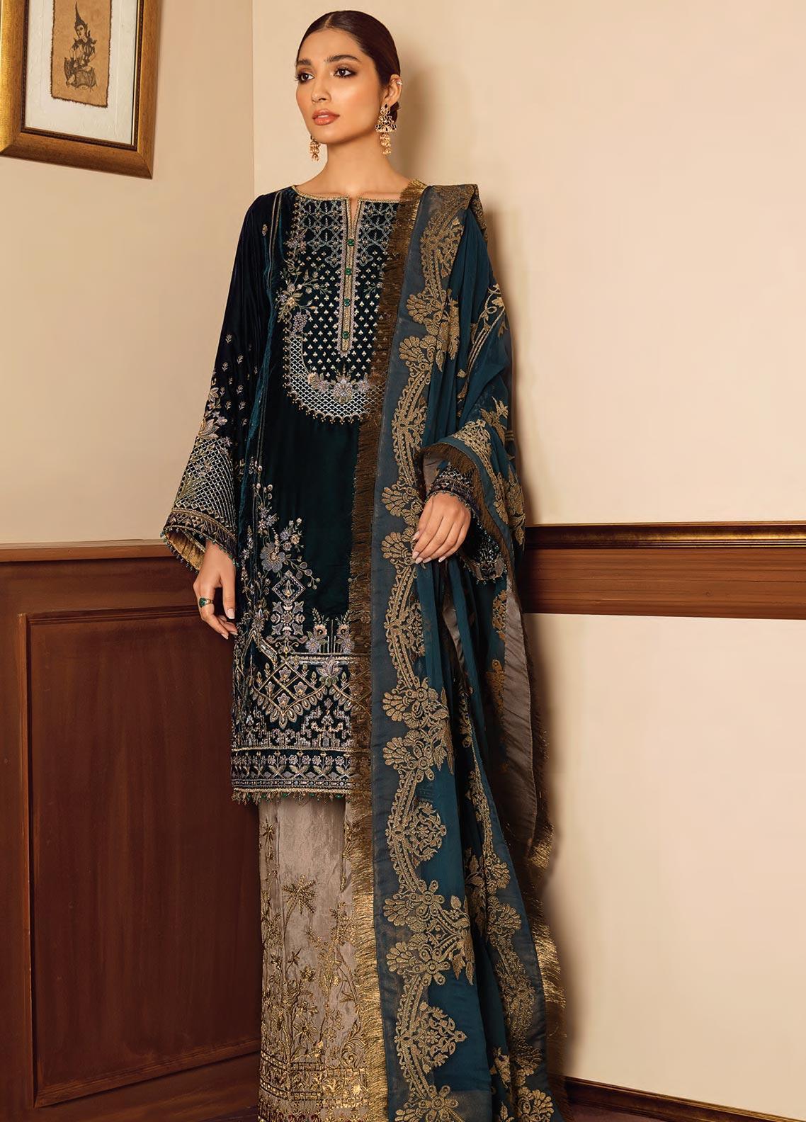 Baroque Embroidered Velvet Unstitched 3 Piece Suit BQ19V 08 GLEAM - Winter Collection