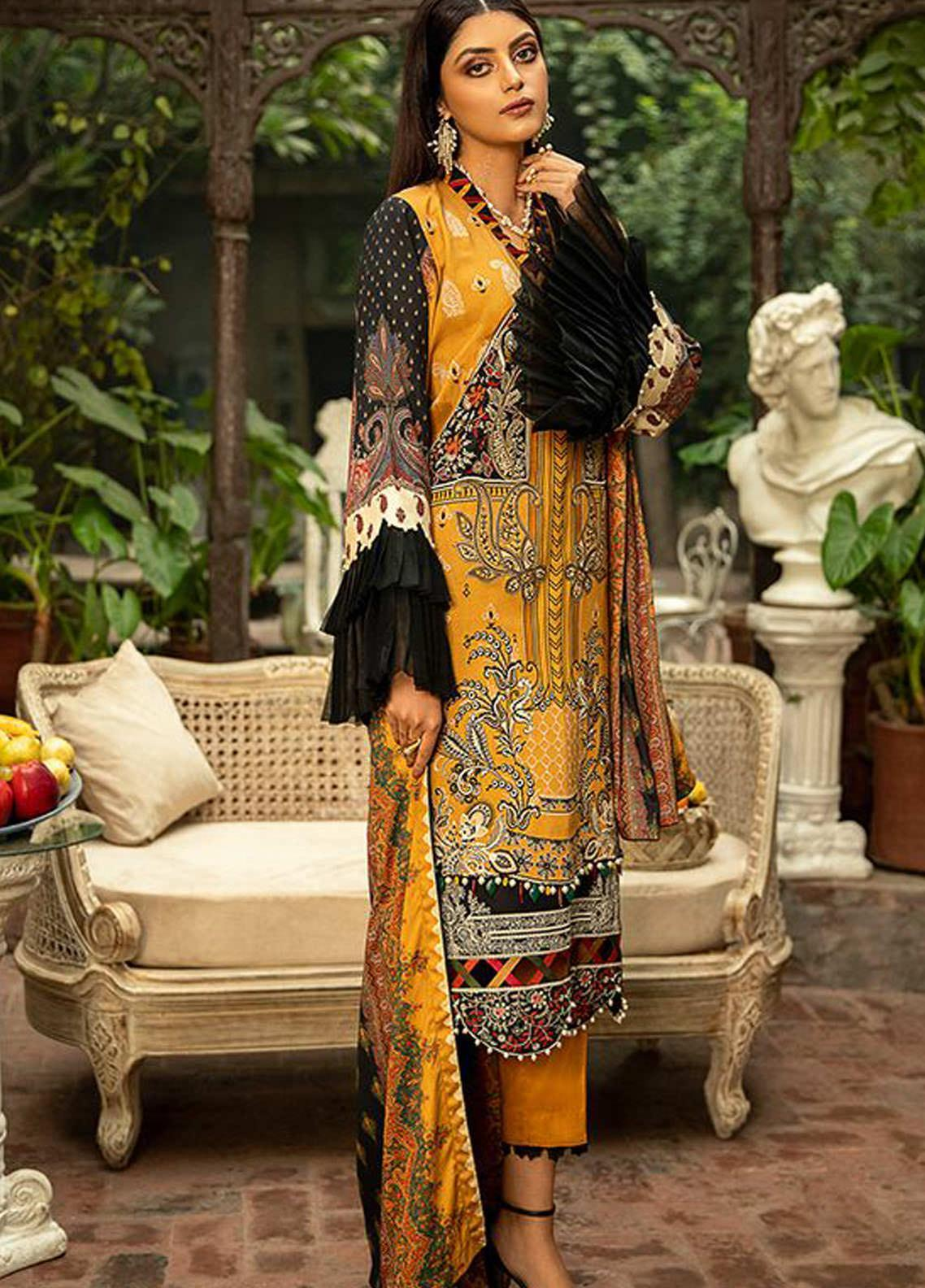 BIN ILYAS Embroidered Cottel Unstitched 3 Piece Suit BI20W 01 - Winter Collection
