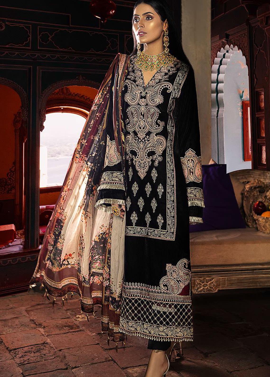 BIN ILYAS Embroidered Velvet Unstitched 3 Piece Suit BI20W 02 - Winter Collection