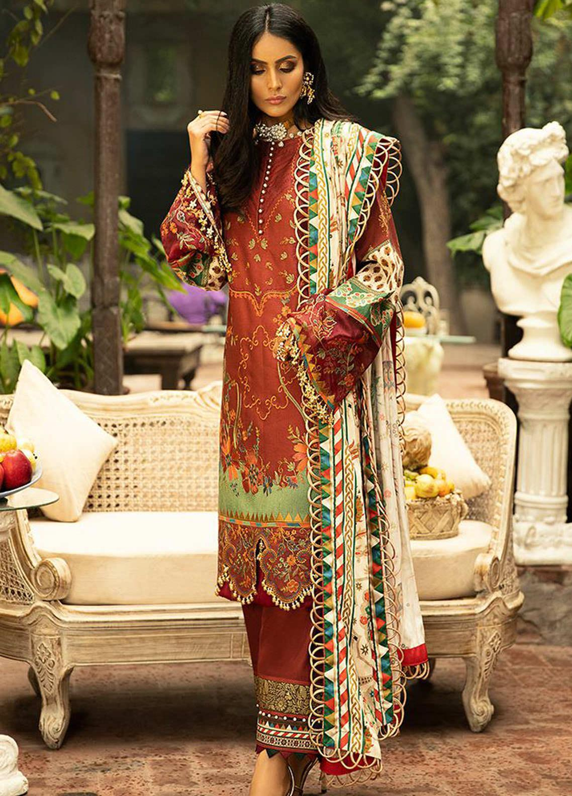 BIN ILYAS Embroidered Cottel Unstitched 3 Piece Suit BI20W 03 - Winter Collection