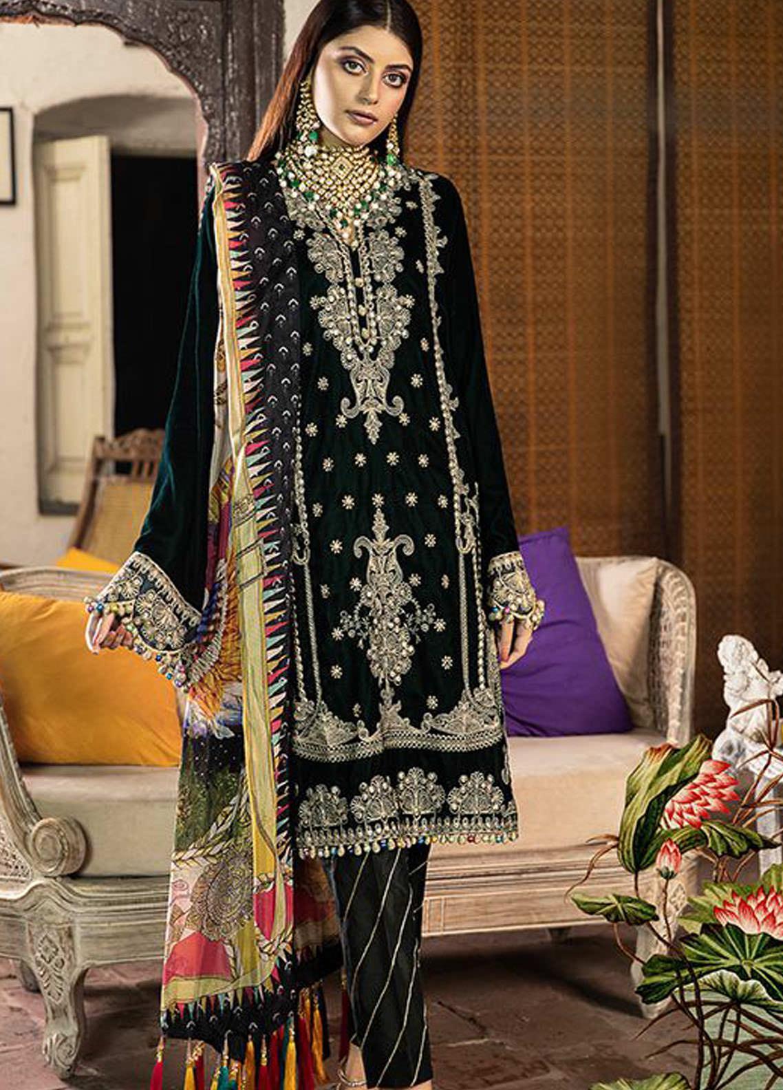 BIN ILYAS Embroidered Velvet Unstitched 3 Piece Suit BI20W 04 - Winter Collection
