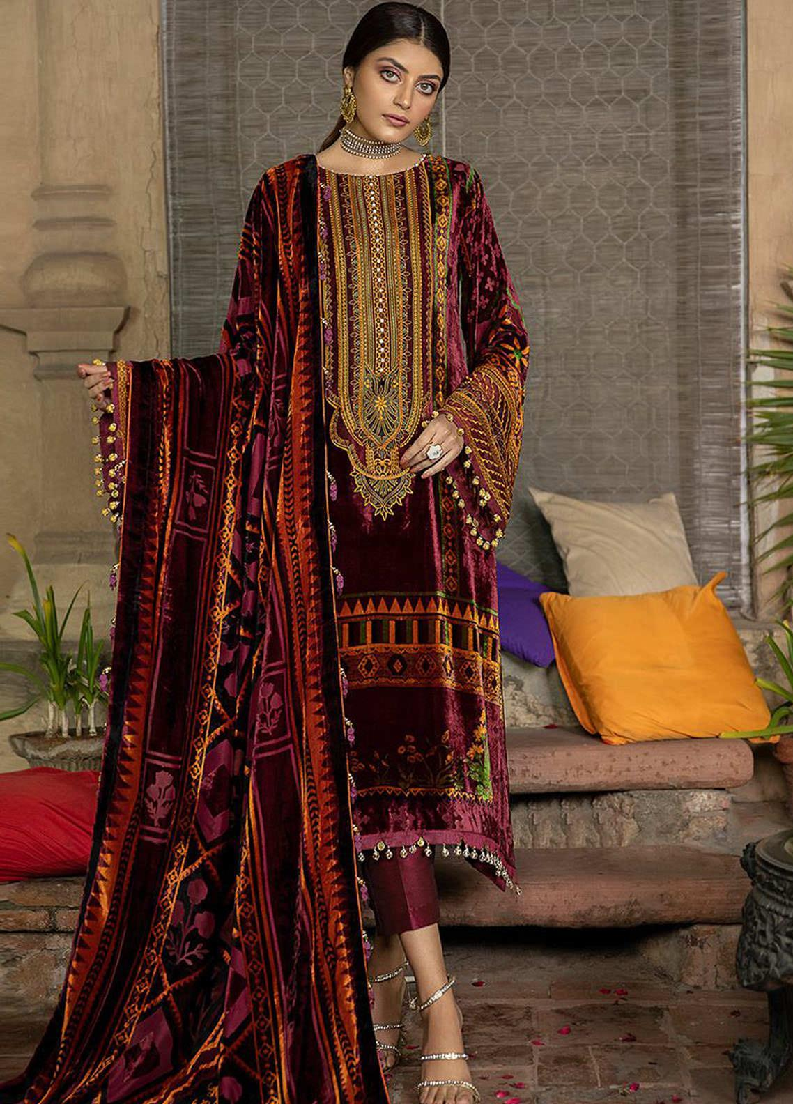 BIN ILYAS Embroidered Palachi Unstitched 3 Piece Suit BI20W 06A - Winter Collection
